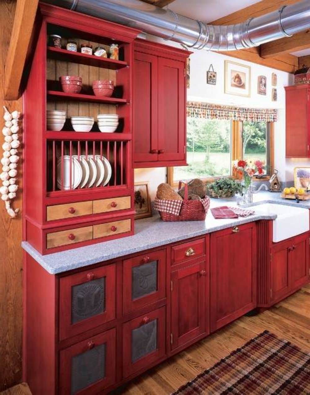 exquisite-big-red-kitchen-cabinets-and-small-glass-window-plus-chic-wooden-floor