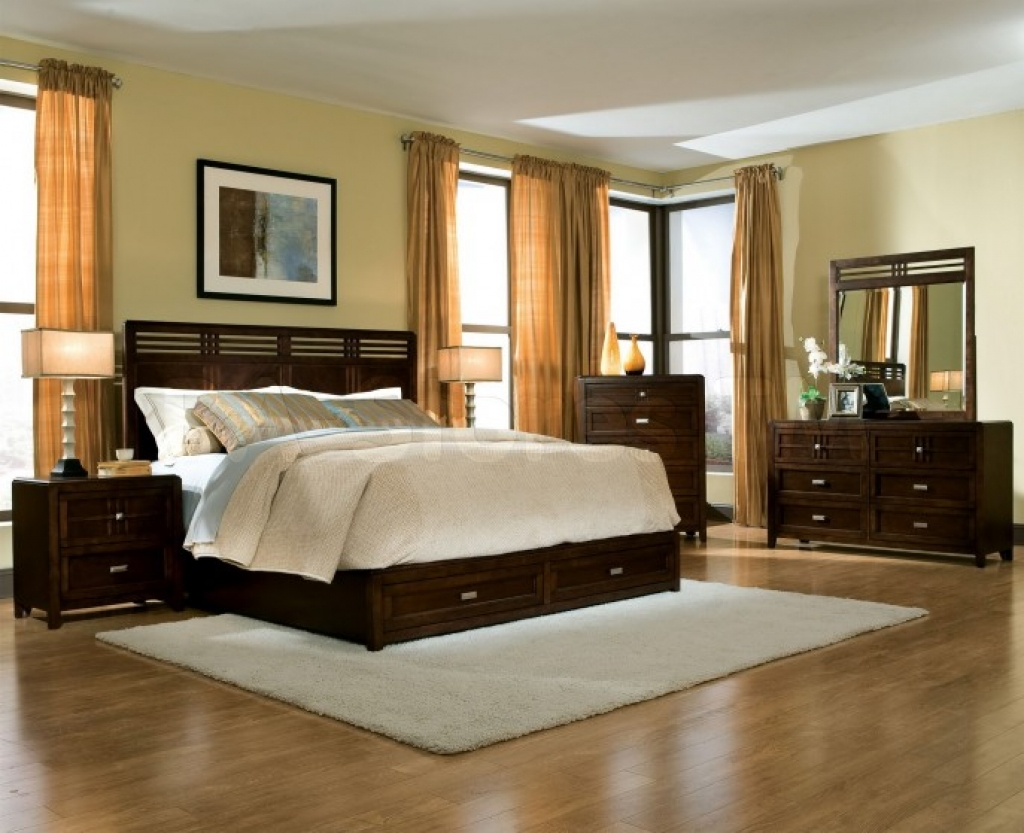 fancy-cheap-king-size-bedroom-sets-and-brown-curtains-with-wood-laminate-floor
