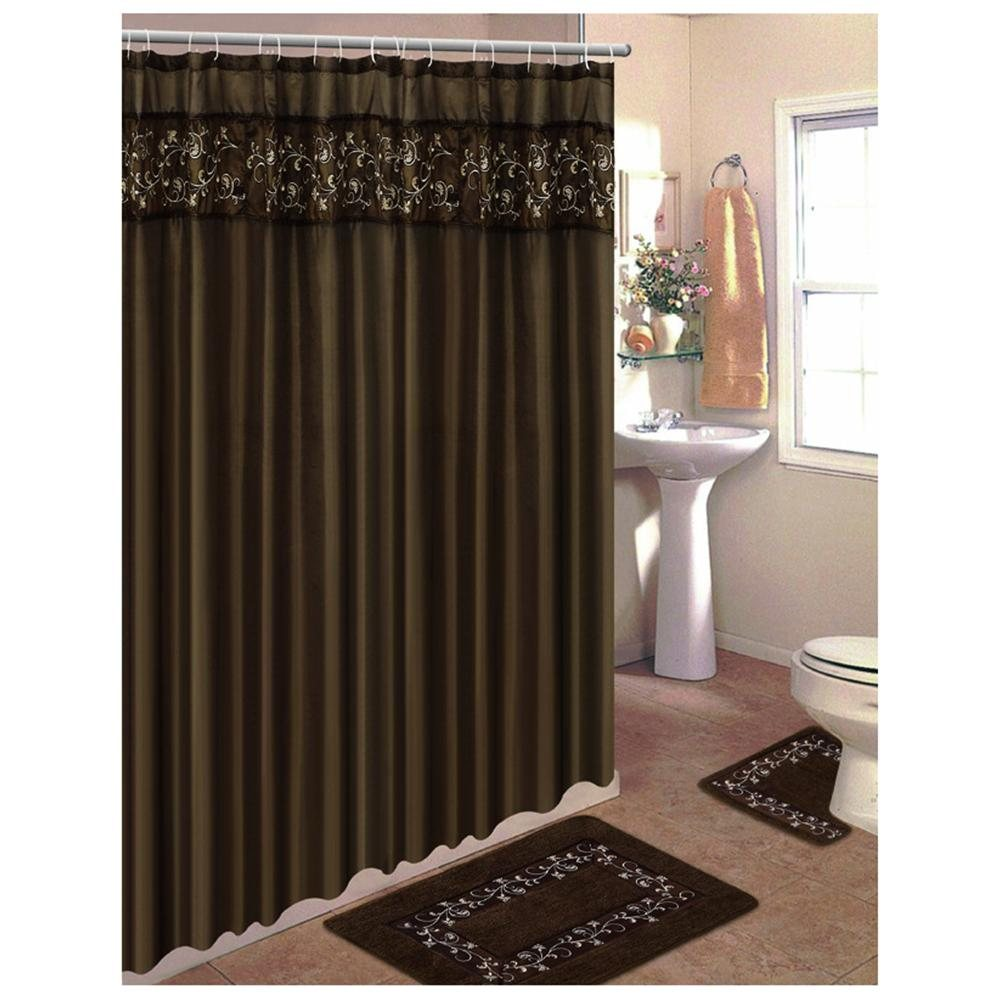 fancy-brown-curtains-for-shower