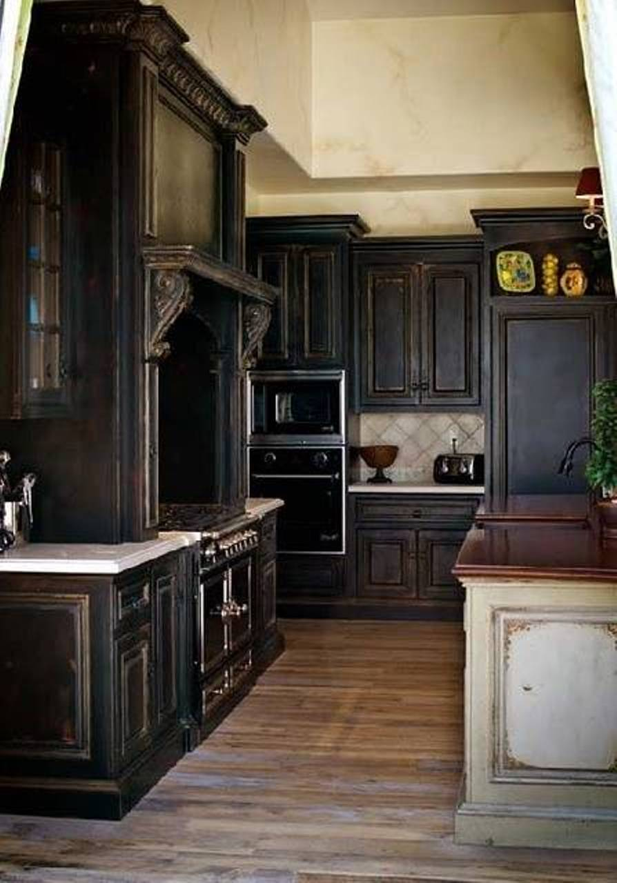 fearsome-design-of-rustic-black-kitchen-cabinets-made-of-wooden-with-simple-countertop