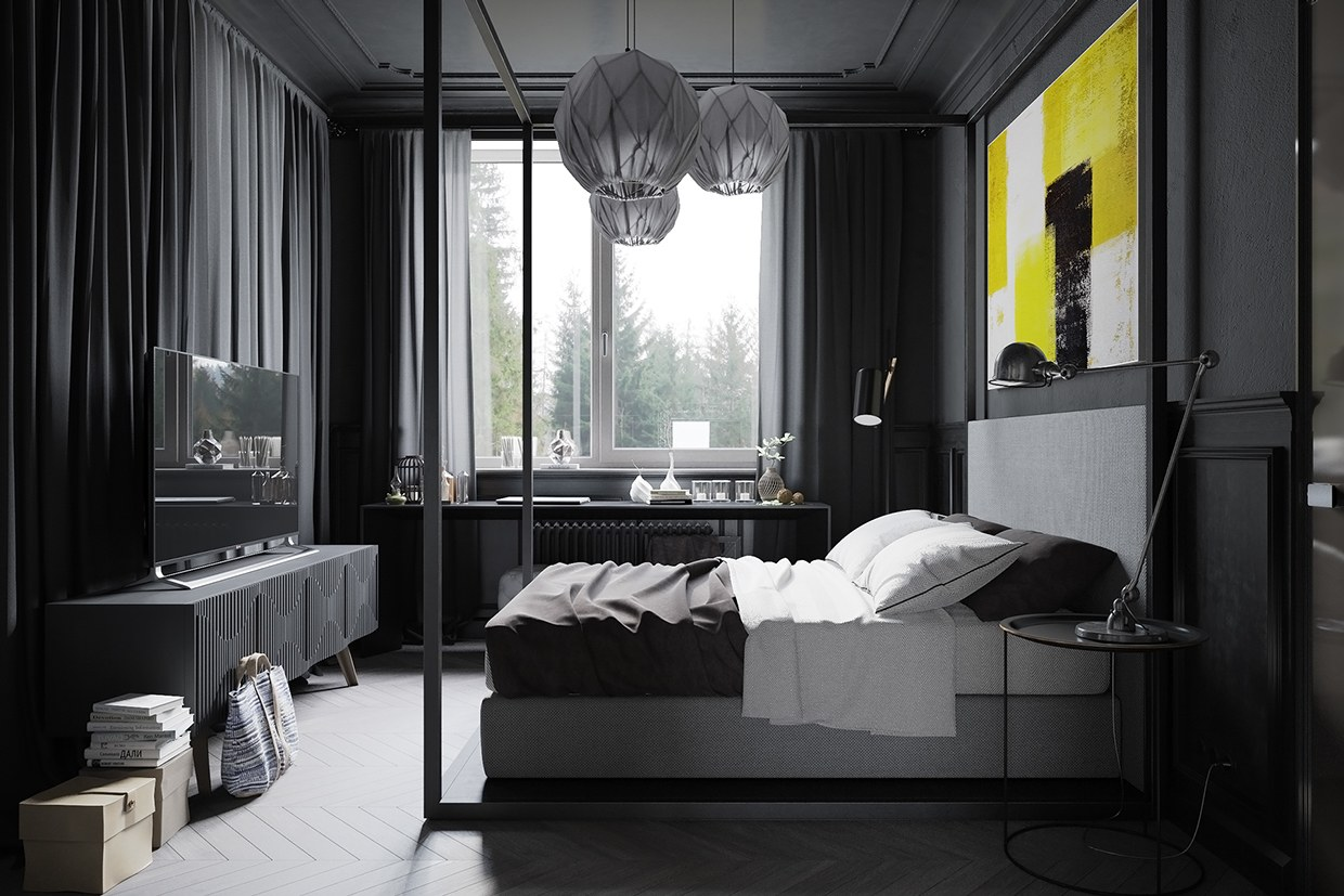 grey-interior-decor-bedroom-walls-curtains-ideas-ornament-wall-unit-tv-stands-modern-round-pendant-lamp-wood-floor