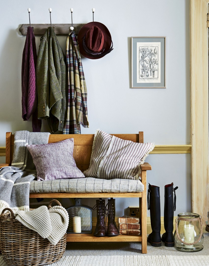 grey-country-hallway-with-wooden-bench