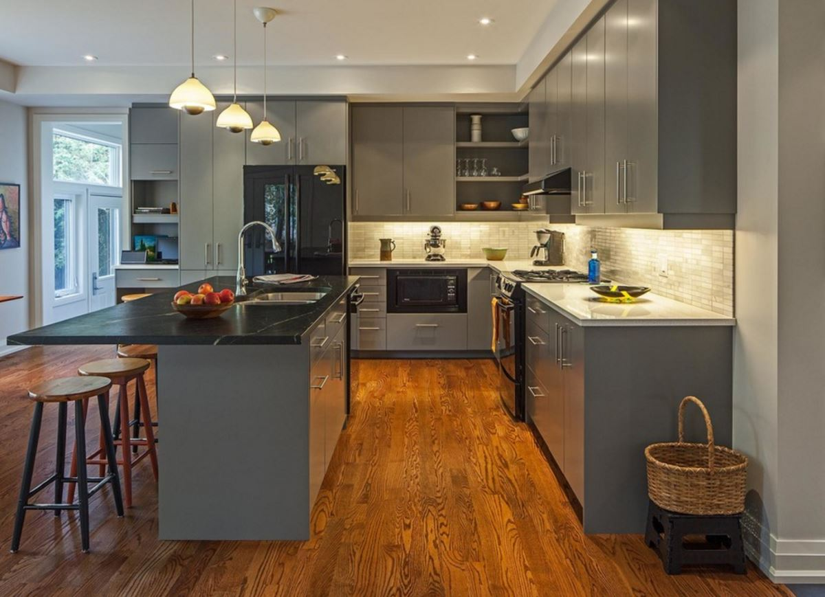 grey-kitchen-with-hardwood-floors