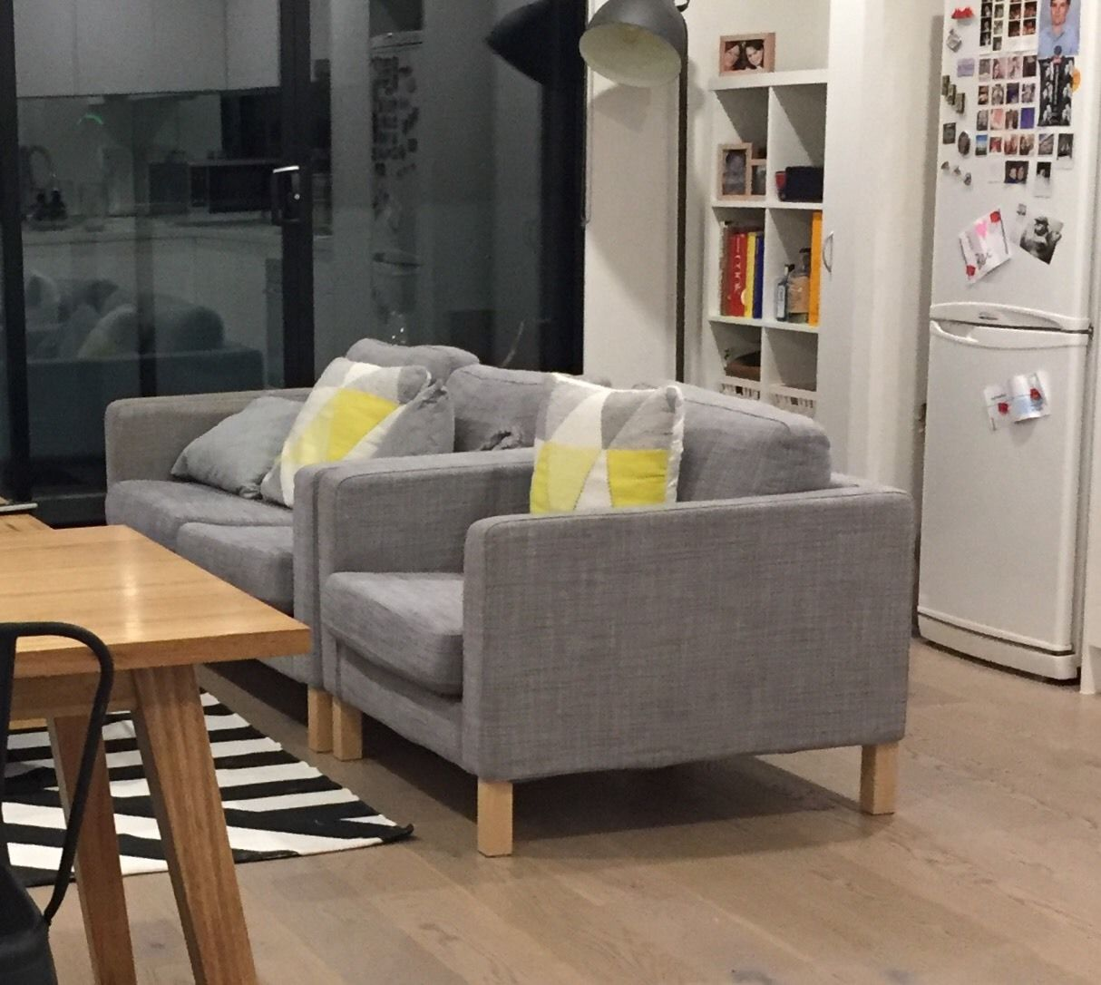ikea-karlstad-armchair-2-seater-sofa-grey