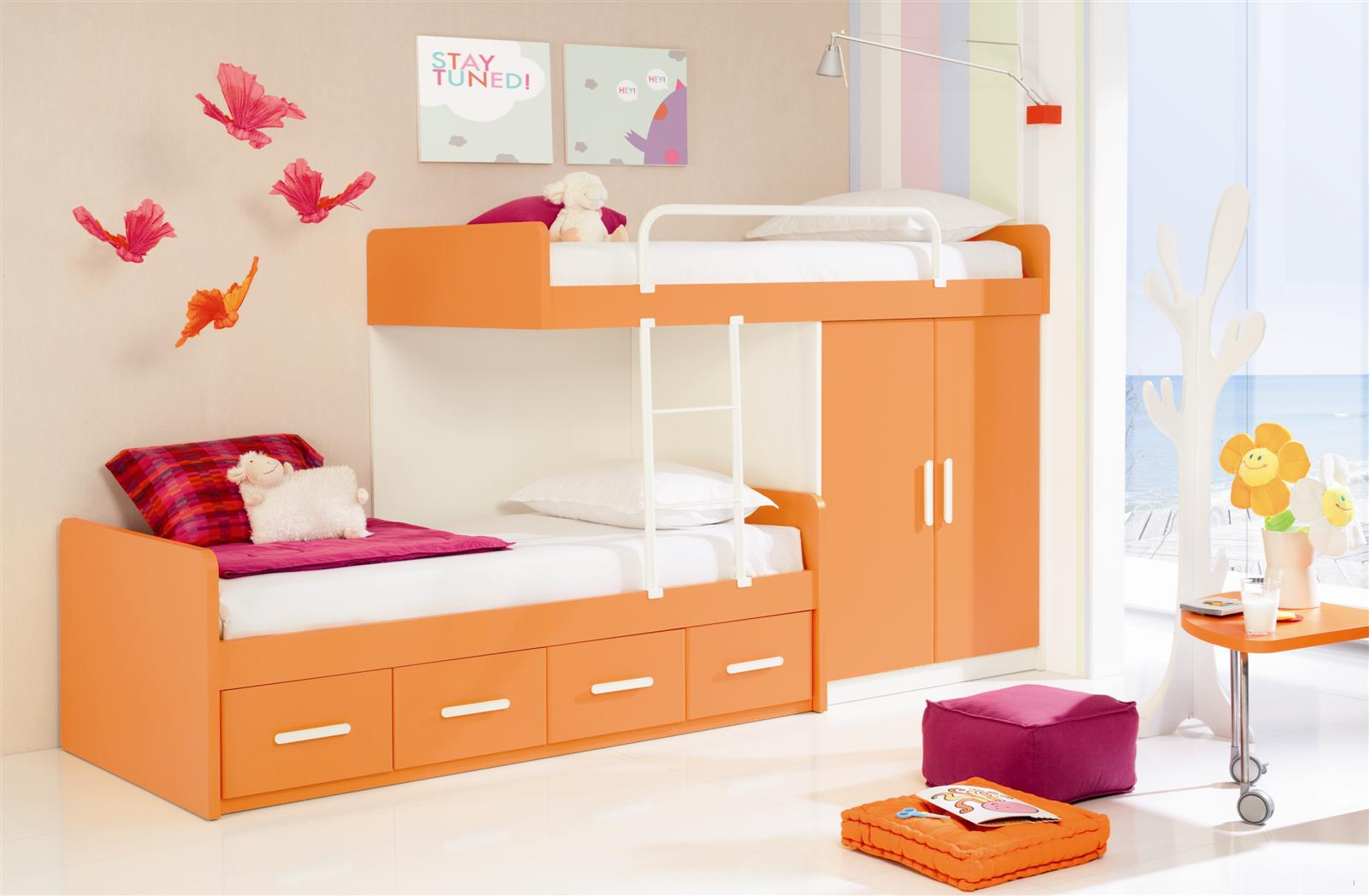 orange-color-wooden-bunk-bed-and-white-metal-ladder-also-barriers-and-storage-drawers-under-bed-also-small-wardrobe-underneath-and-white-color-covered-kids-bedroom-paint-ideas