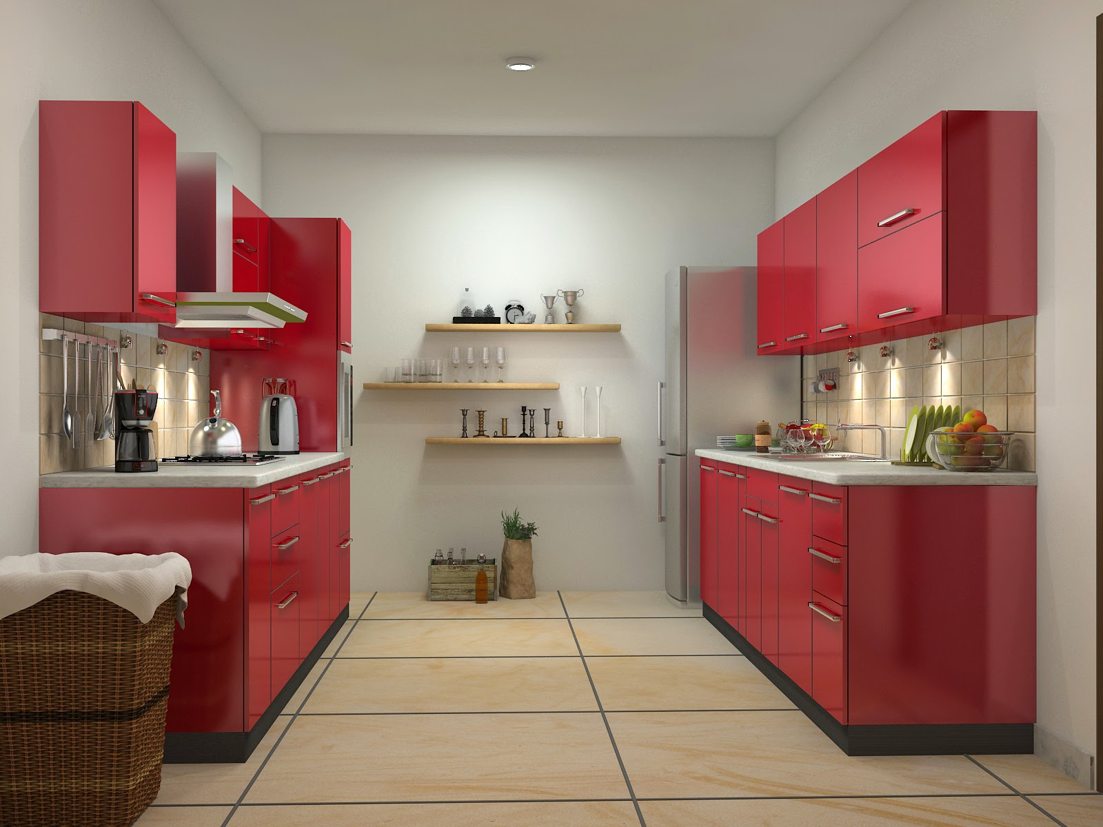 red-colour-modular-kitchens