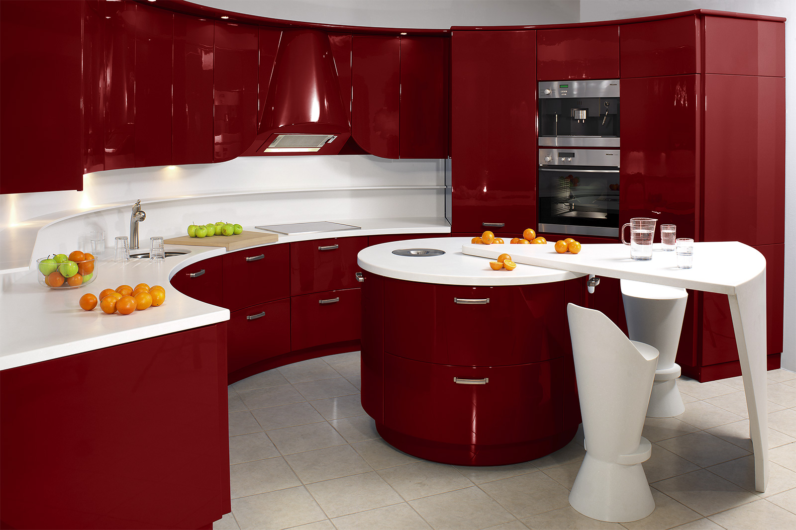 refined-curve-red-cabinet-using-winning-countertop-for-kitchen-decor