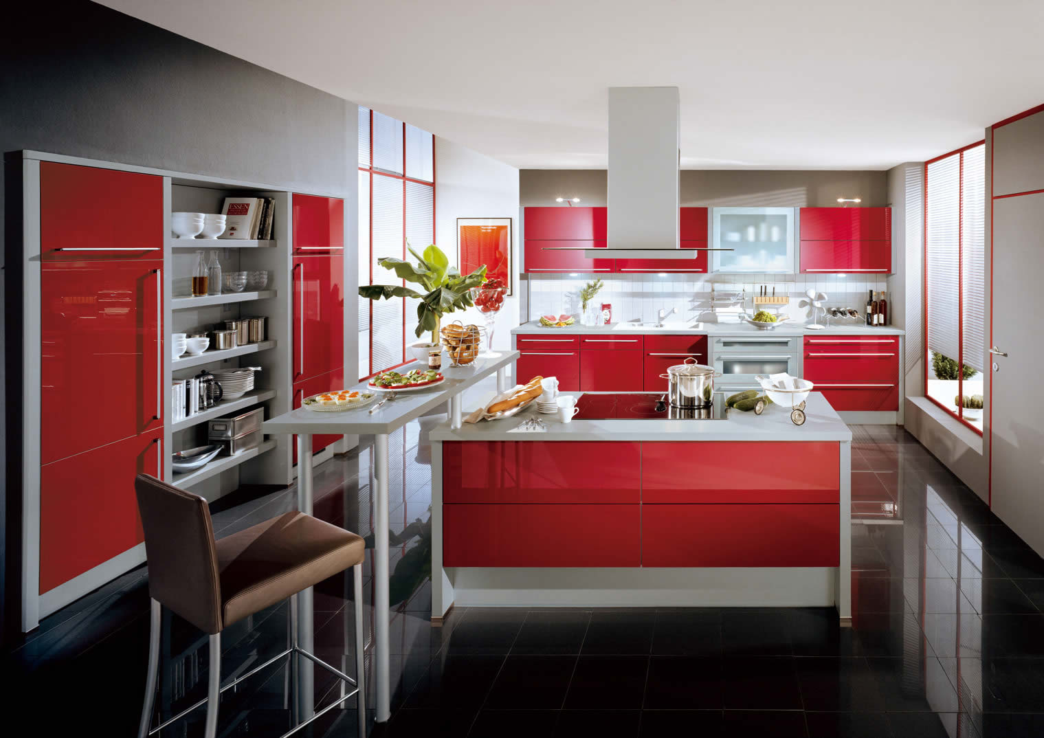 stunning-xeno-red-ultra-high-gloss-kitchen-cabinet-in-beautiful-kitchen-with-black-ceramic-tiles-flooring-and-grey-kitchen-bar-wonderful-high-gloss-kitchen-cabinet-ideas-of-contempor
