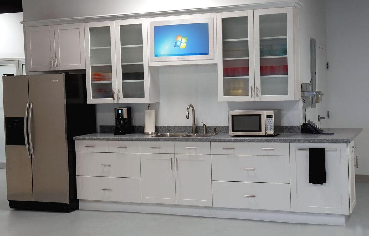 Refrigerator White Kitchen Interior Design Kitchen Cabinets Doors Glass