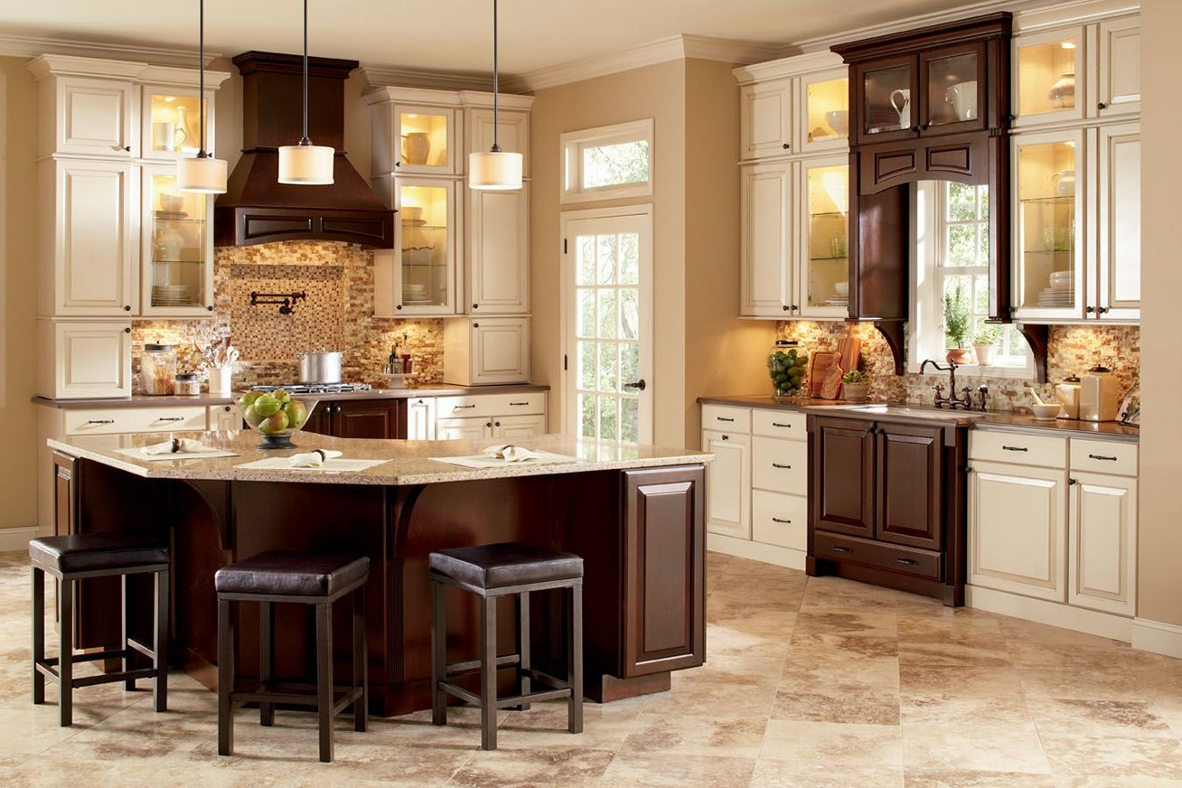 two-tone-kitchen-cabinets-brown-and-white-image