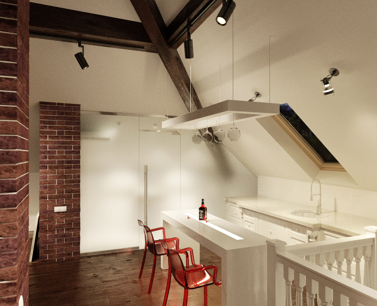 wonderful-interior-small-apartment-kitchens-with-long-table-under-ceiling-lamps-plus-red-arm-chairs-plus-cute-cabinet-in-the-edge-of-room