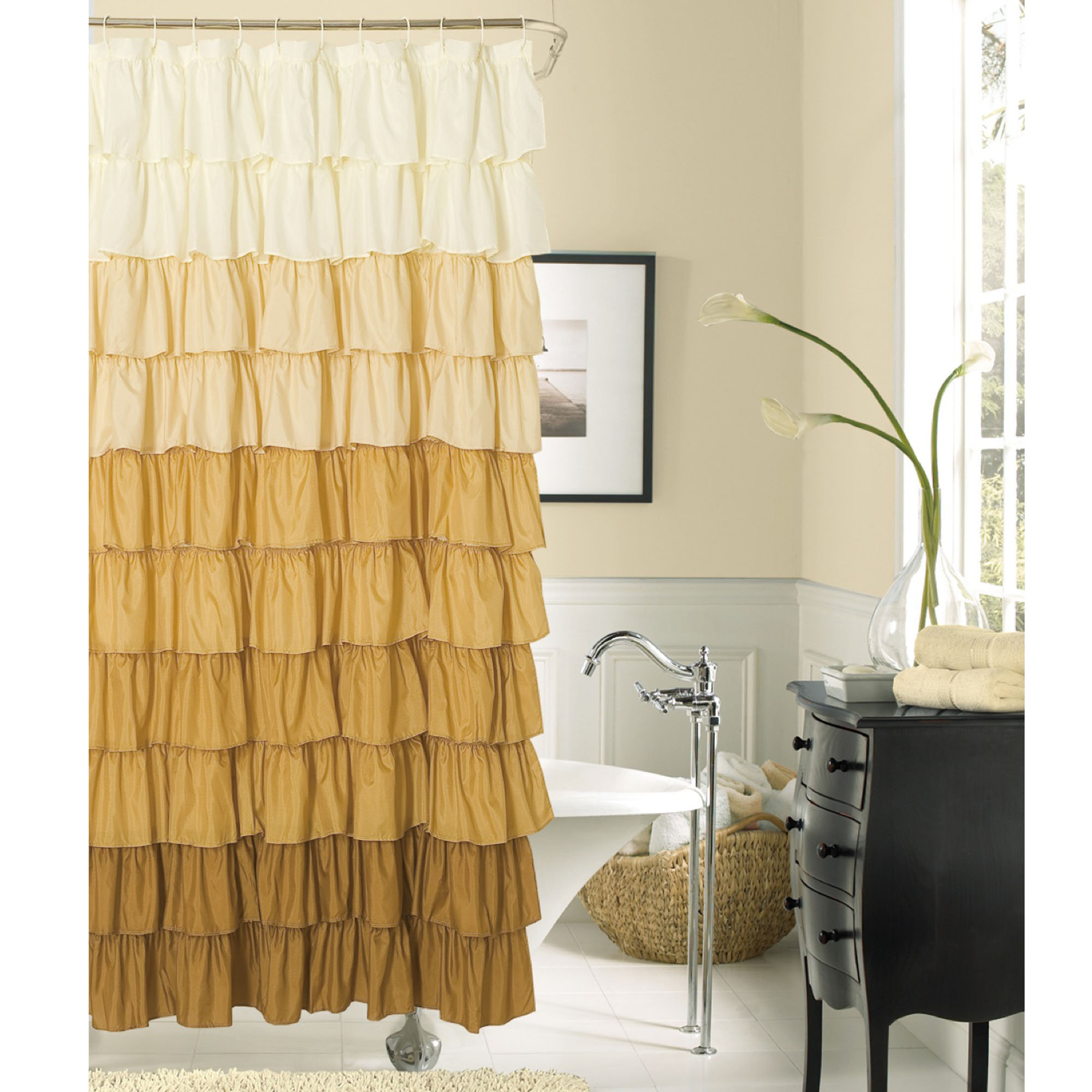 a-simple-tint-brown-and-cream-soft-fabric-tufted-shower-curtain-with-silver-stainless-steel-rod-and-white-twelve-ring-easily-slide-to-full-closure