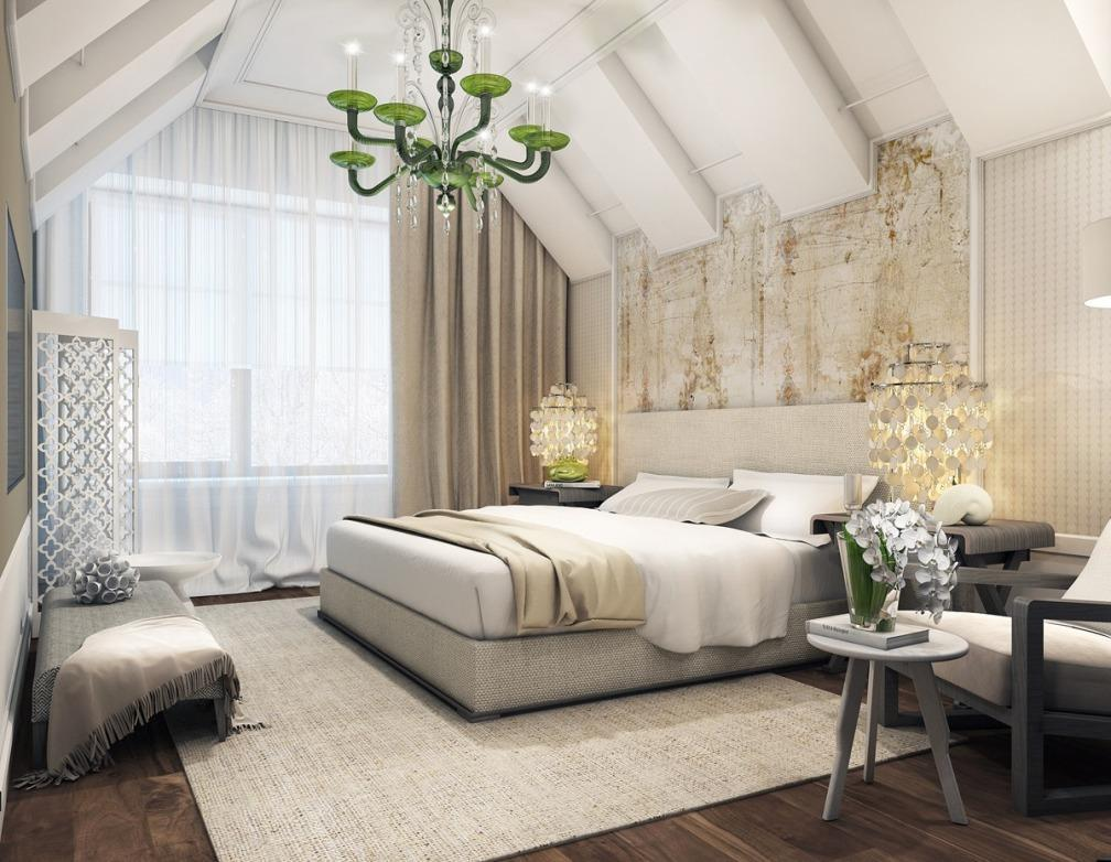 awesome-green-chandelier-for-bedroom-design-with-white-brown-plus-lamp-table-the-bedside-and-white-bedding-set