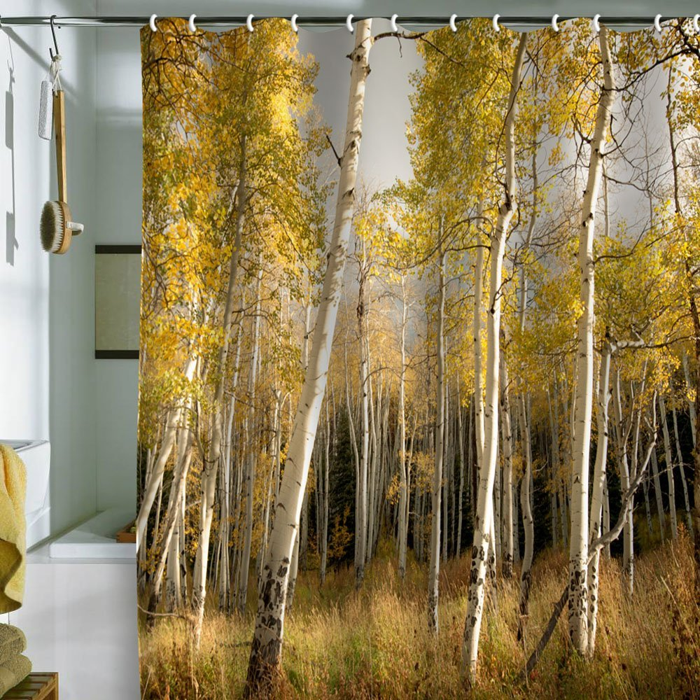 bathroom-splendid-ideas-for-bathroom-decoration-design-using-forest-landscape-bathroom-shower-curtain-with-valance-along-with-stainless-steel-bathtub-curtain-rod-marvelous-bathroom-decoration-ideas-us