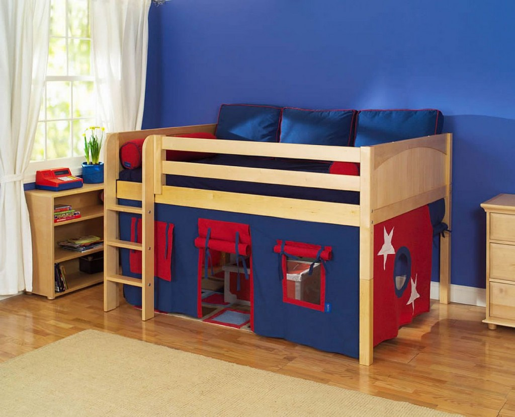 bedroom-appealing-boy-kid-bedroom-decoration-using-blue-kid-room-wall-paint-including-red-and-blue-tent-oak-wood-kid-ikea-bunk-bed-and-white-kid-bedroom-curtain-breathtaking-image-of-bedroom-decoratio