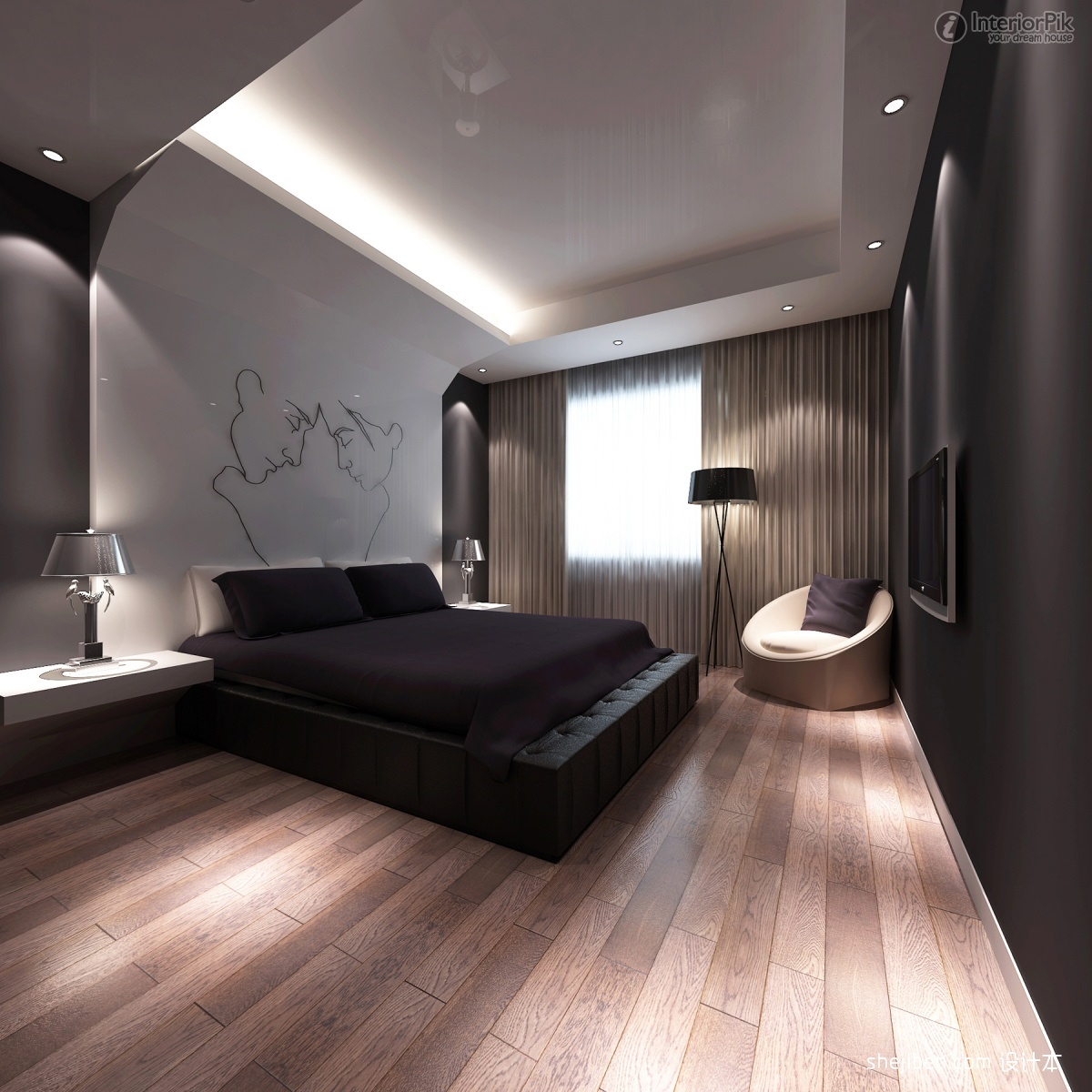 bedroom-design-2013-superb-modern-bedroom-designs-ideas-2013-interior-decorating-furniture-with-reccessed-light-also-engineering-wood-flooring-and-standing-lamp-feat-contemporary-rounded-chair