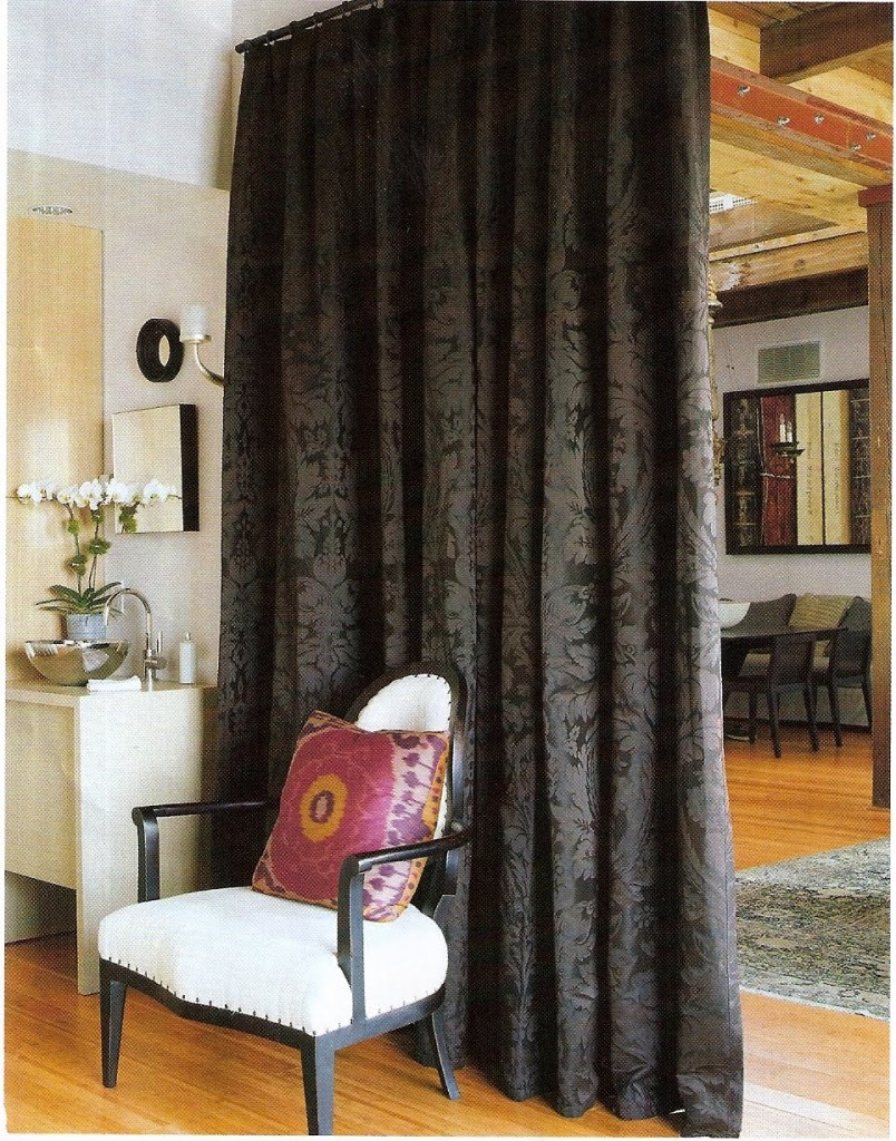 bedroom-gorgeous-home-interior-decoration-with-brown-fabric-curtain-room-divider-combine-with-black-and-white-armchair-plus-gray-rug-on-the-brown-wood-floor-inspiring-bedroom-divider-curtains