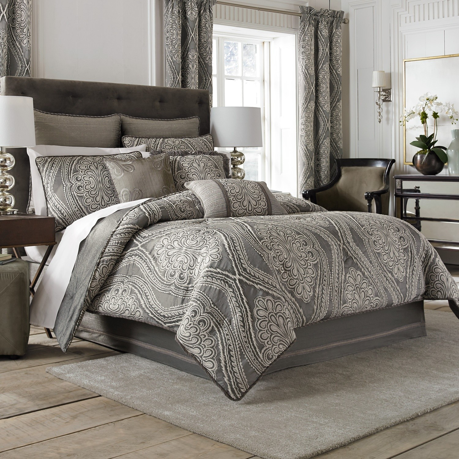 bedroom-grey-pattern-linen-cotton-comforter-and-curtains-combined-grey-fur-rugs-miraculous-bedroom-comforter-and-curtain-sets-design-ideas