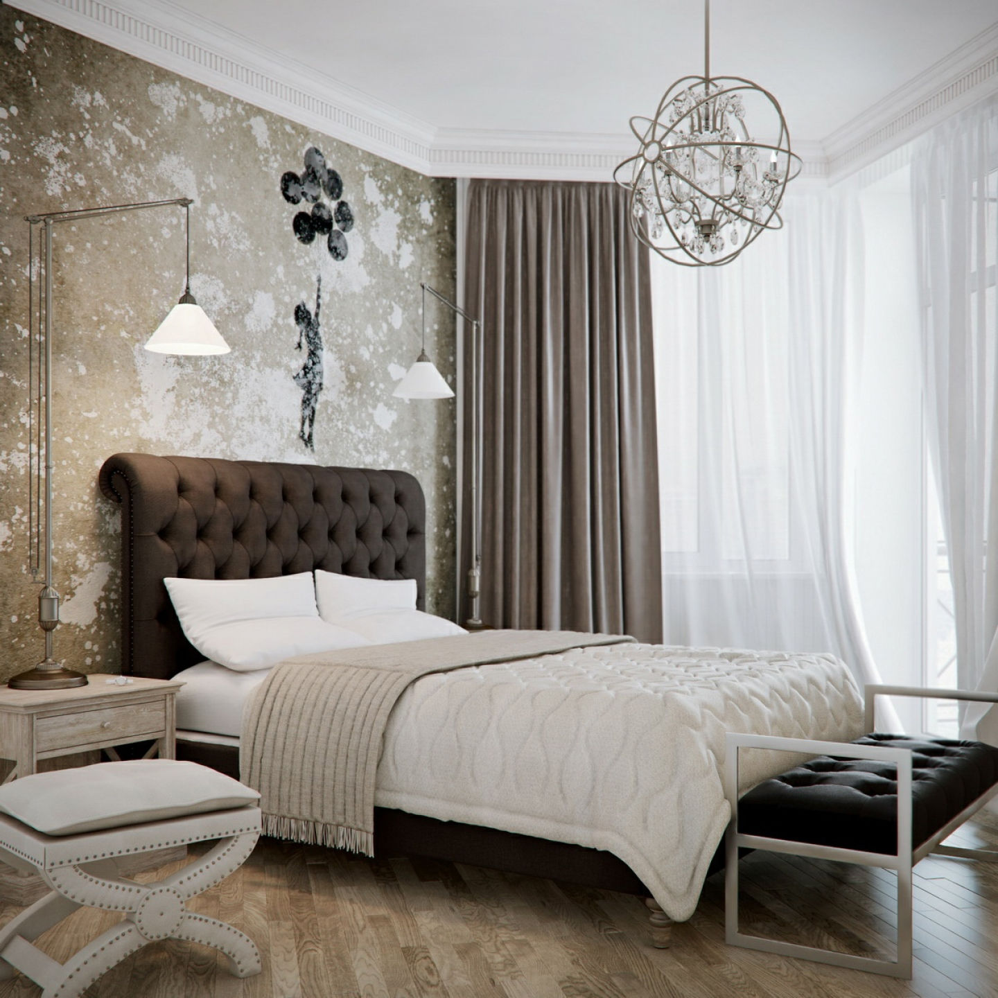 bedroom-interior-modern-wrought-iron-cage-chandelier-over-master-bed-having-tufted-upholstered-headboard-combined-with-wall-lights-modern-chandeliers-for-bedrooms
