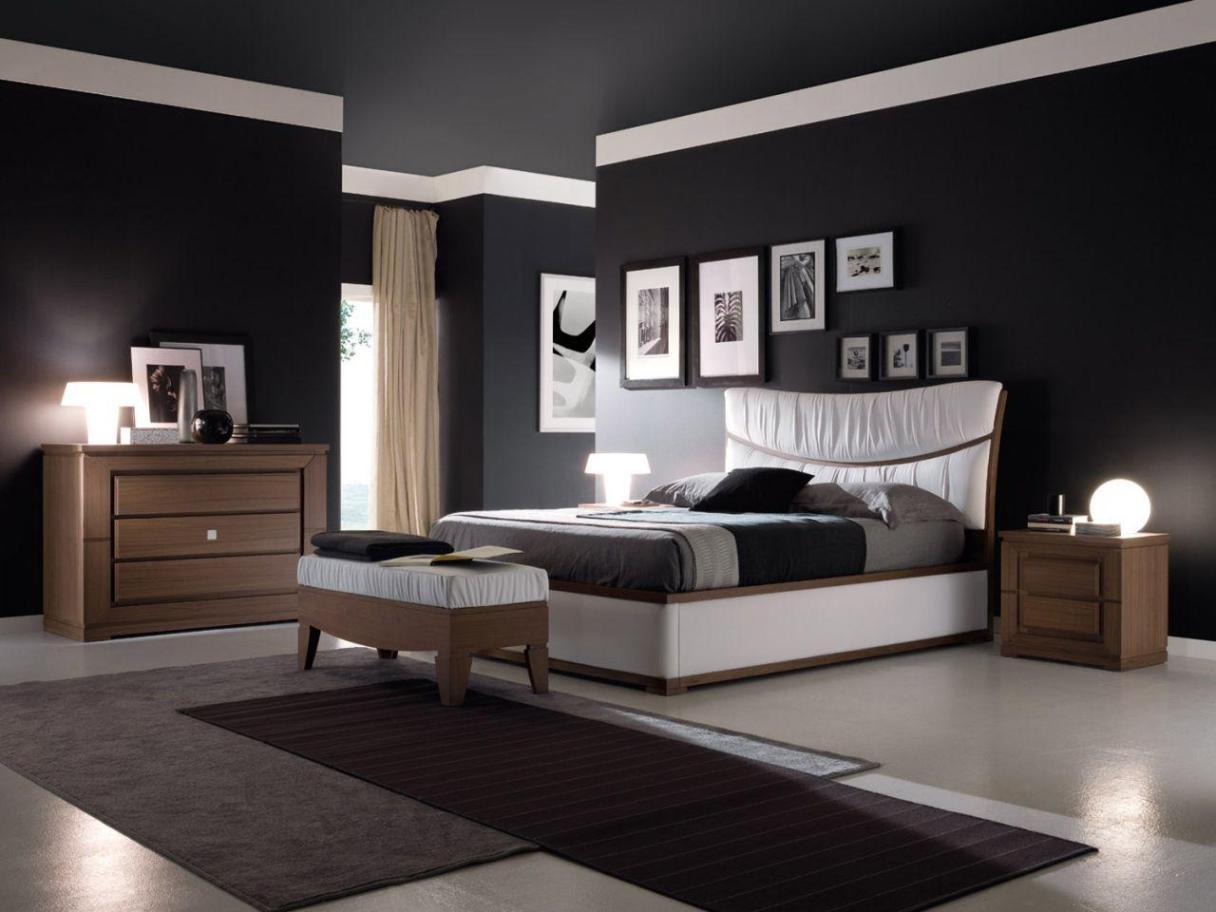 bedroom-paint-ideas-black-black-wall-paint-bedroom-with-picture-frame-decor-black-white-color-schemes-interior-bedroom