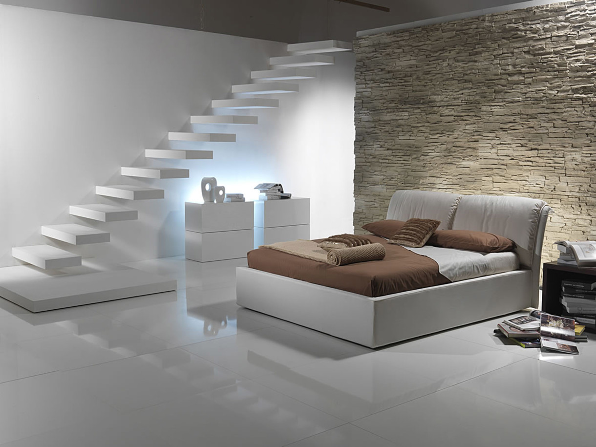 bedrooms-wonderful-bright-bedroom-2014-with-white-tile-ceramic-flooring-and-brown-bedside-table-also-textured-stone-wall-under-stair-20-collections-of-populer-bedroom-design