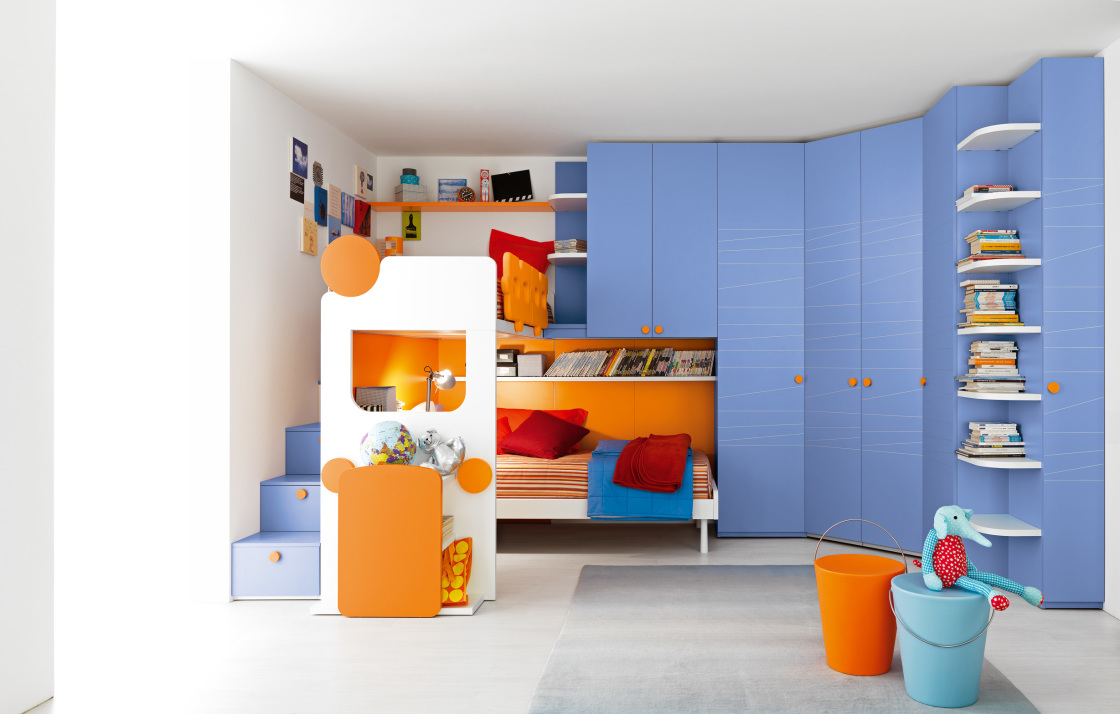 breathtaking-children-boy-bedroom-remodeling-ideas-the-showing-great-curved-shape-sky-blue-ikea-wardrobe-connected-orange-color-corner-loft-beds-1120x714