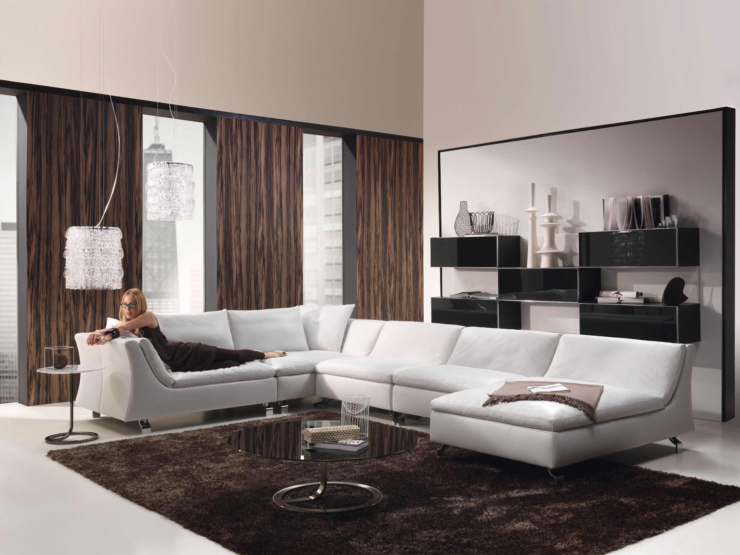 bright-brown-curtains-for-living-room-big-white-sofa-round-glass-table-black-fur-carpet-storage-board-for-accent-standing-lamp-modern