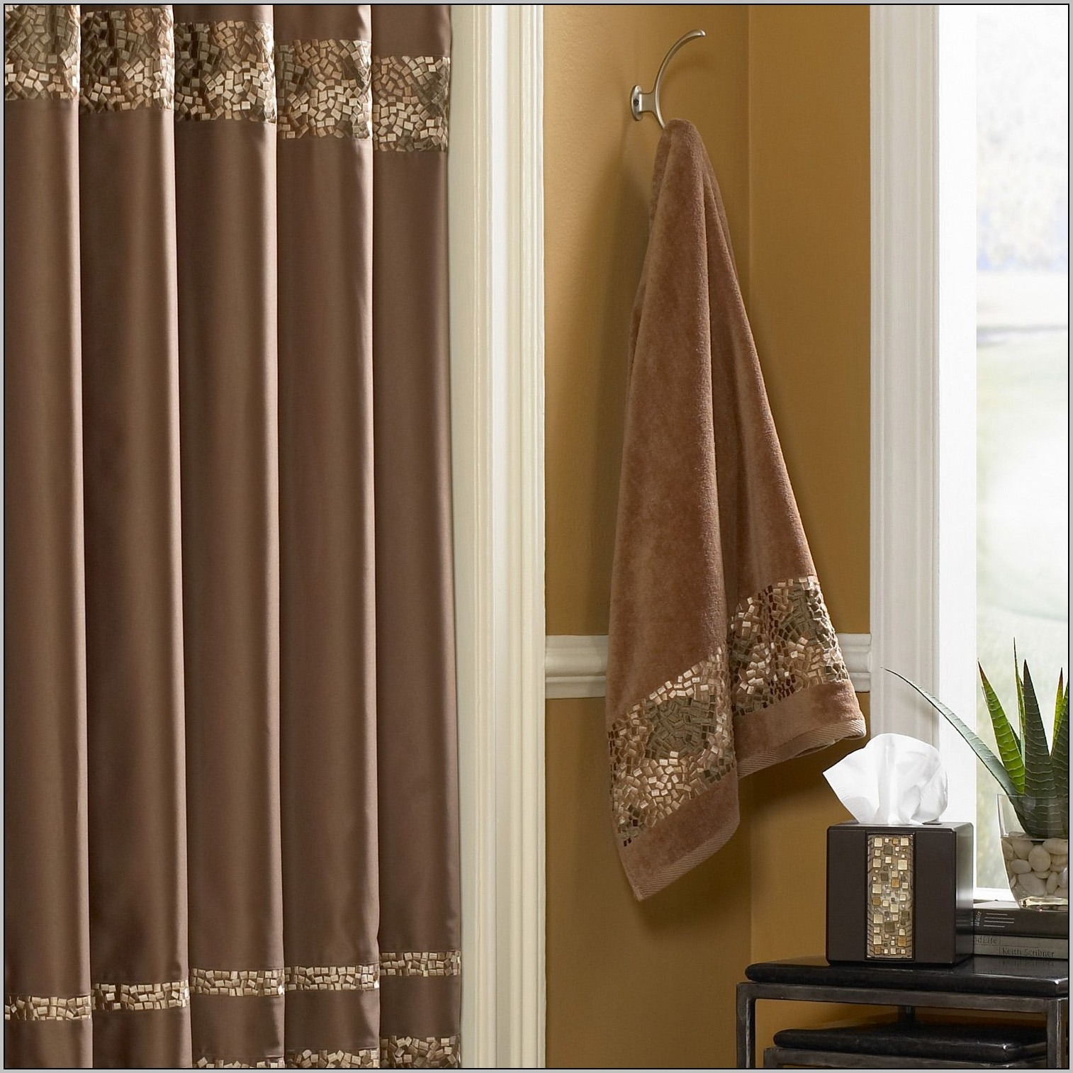 brown-and-gold-shower-curtains