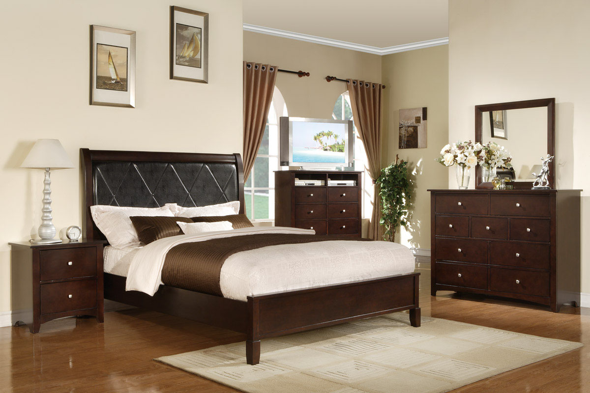 brown-wooden-wood-dressers-with-square-mirror-and-nine-drawers-and-steel-knob-added-by-brown-bed-with-white-table-lamp-also-bedside-table-in-white-bedroom