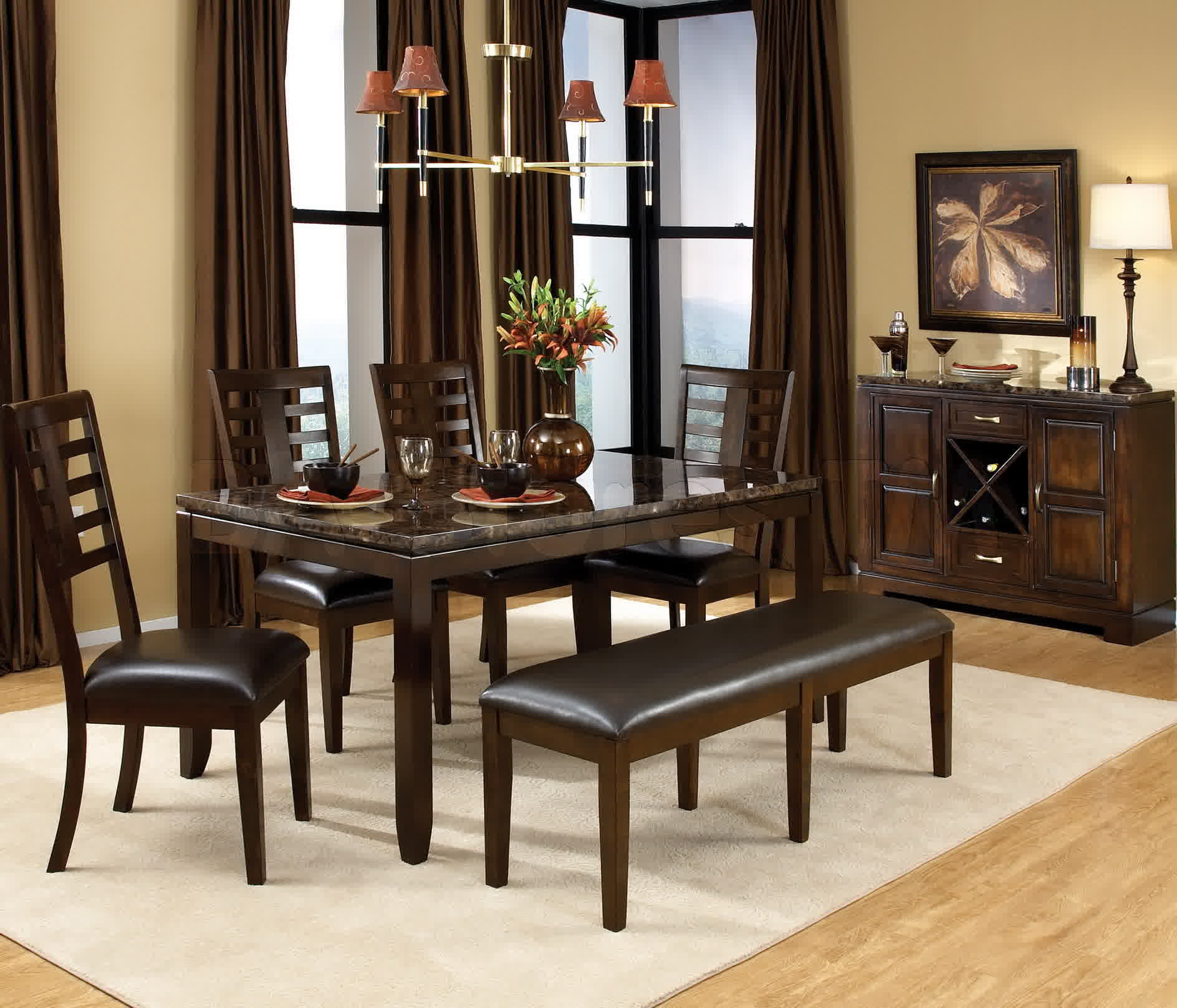 captivating-ikea-dining-sets-design-ideas-with-rectangle-shape-dark-brown-wooden-dining-table-with-marble-top-also-combine-with-armless-wooden-chairs-with-brown-leather-seats-also-dark-brown-leather-b