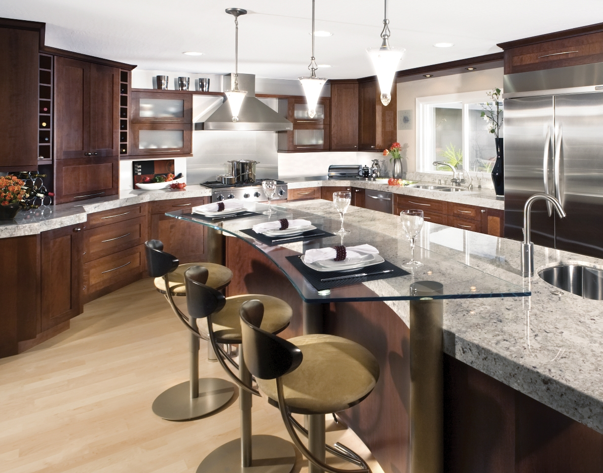 charming-brown-bar-stools-on-laminate-floor-paired-with-wooden-eco-friendly-kitchen-cabinets-plus-brown-granite-countertop-idea
