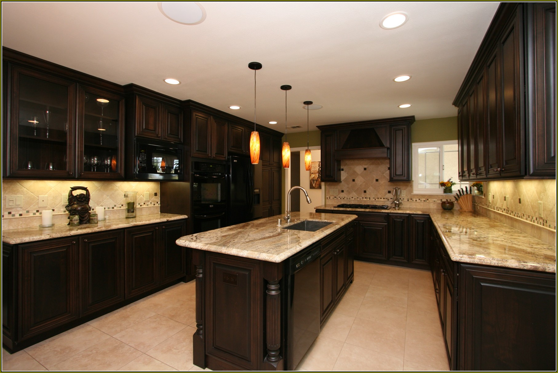 cherry-wood-kitchen-cabinets-with-black-granite