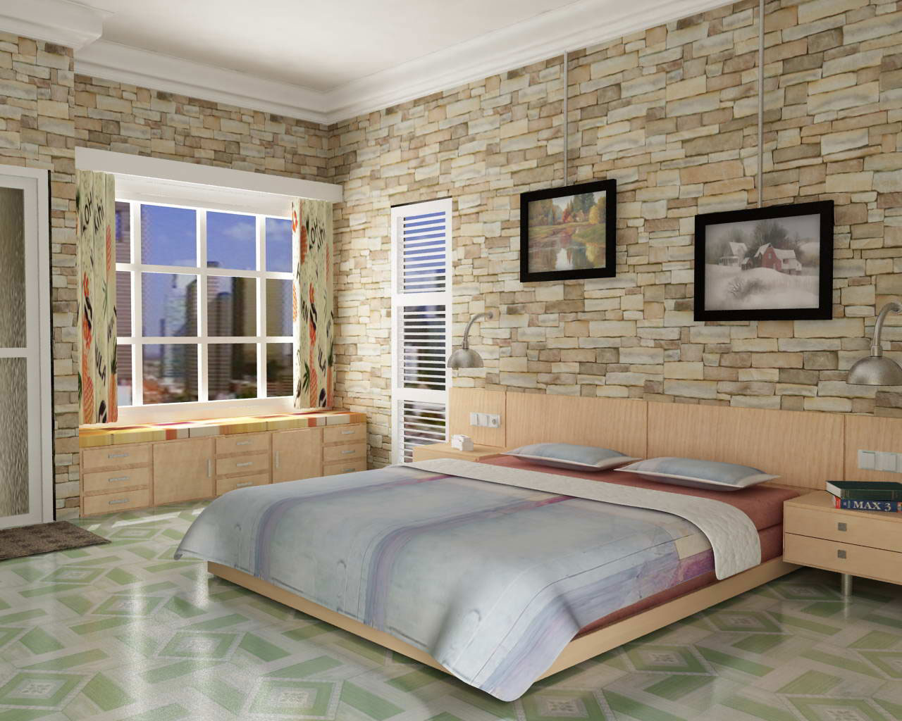 contemporary-bedroom-design-with-natural-stone-wall-decor-be-equipped-large-glass-window-with-white-wooden-frame-plus-green-ceramic-floors-under-smooth-sanded-cherry-wood-bed-frame-which-has-salmon-ki