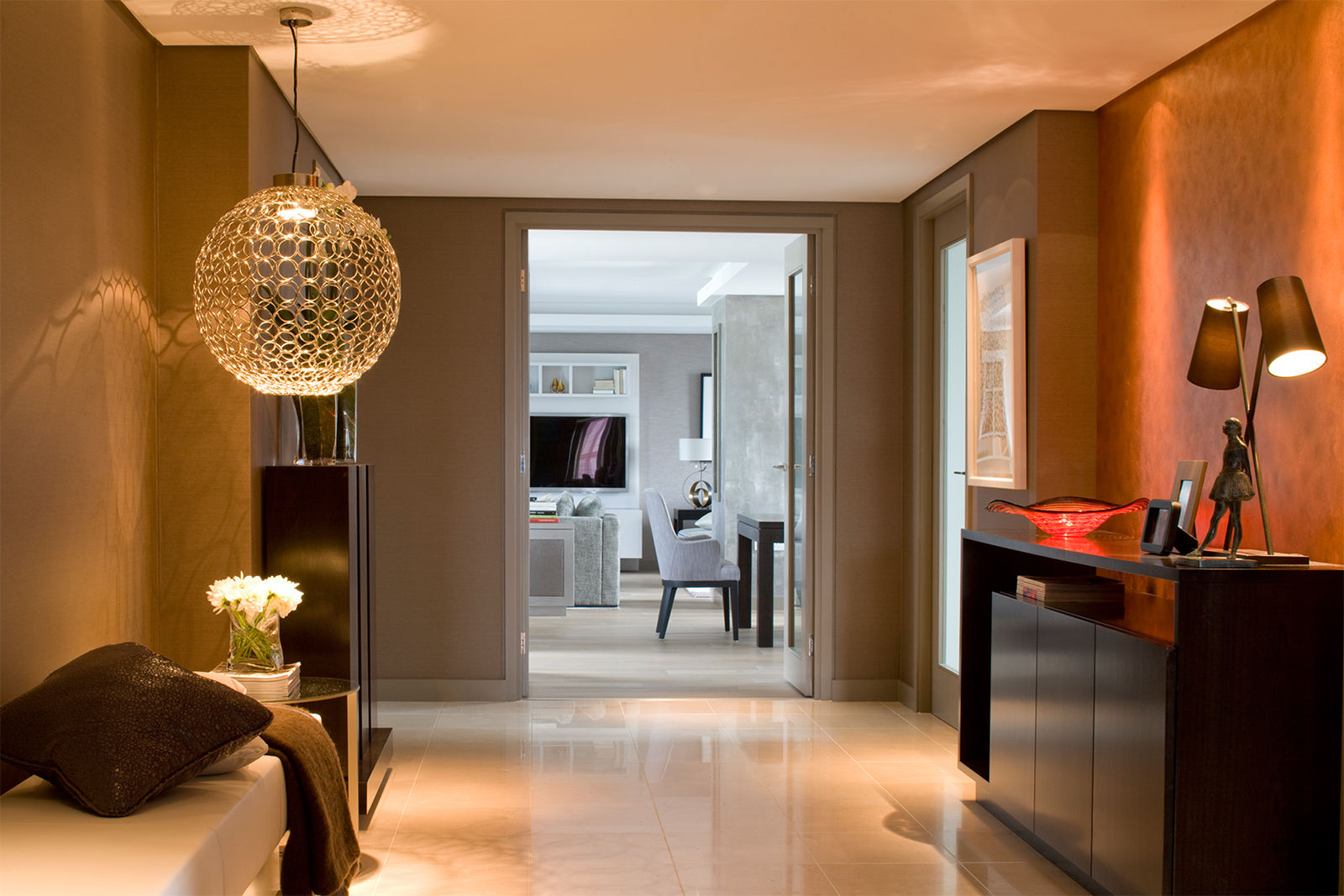 cool-lighting-also-black-hallway-cabinet-in-contemporary-interior-design-also-leather-bench