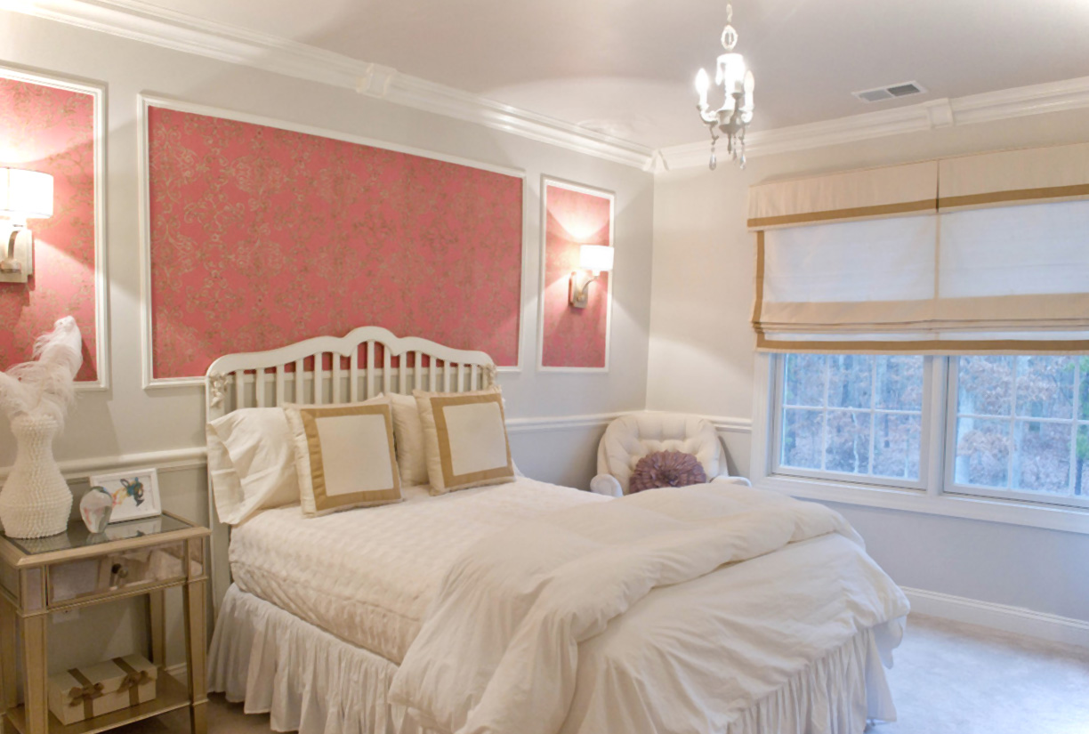 crystal-chandelier-paired-with-pink-floral-wall-decor-plus-shabby-chic-white-bedroom-idea