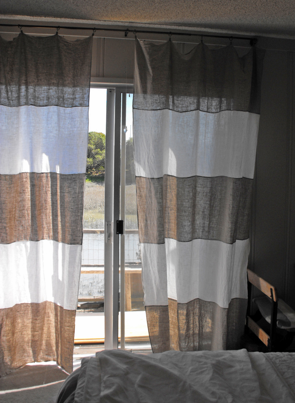 curtains-inspiration-awesome-linen-grey-and-white-curtains-striped-for-front-door-treatment-drapes-with-alumunium-frame-as-decorate-in-modern-entryway-designs-sightly-white-curtains-window-treatment