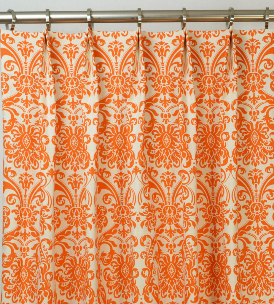 White damask curtains