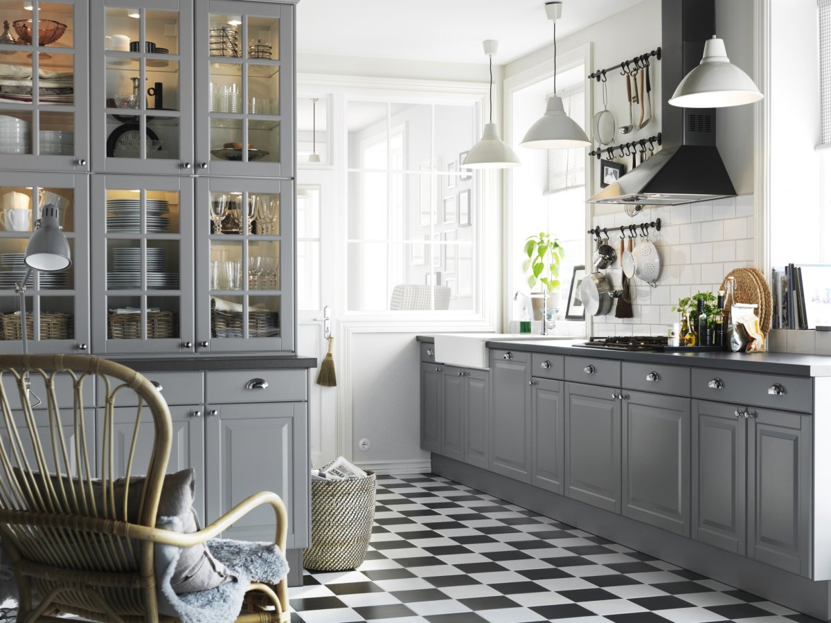 decoration-ideas-kitchen-amazing-ikea-kitchen-with-chess-patterned-floor-and-white-wooden-cabinet-also-simple-hanging-lamp-with-half-circle-shade-wonderful-lighting-ideas-for-ikea-kitchen