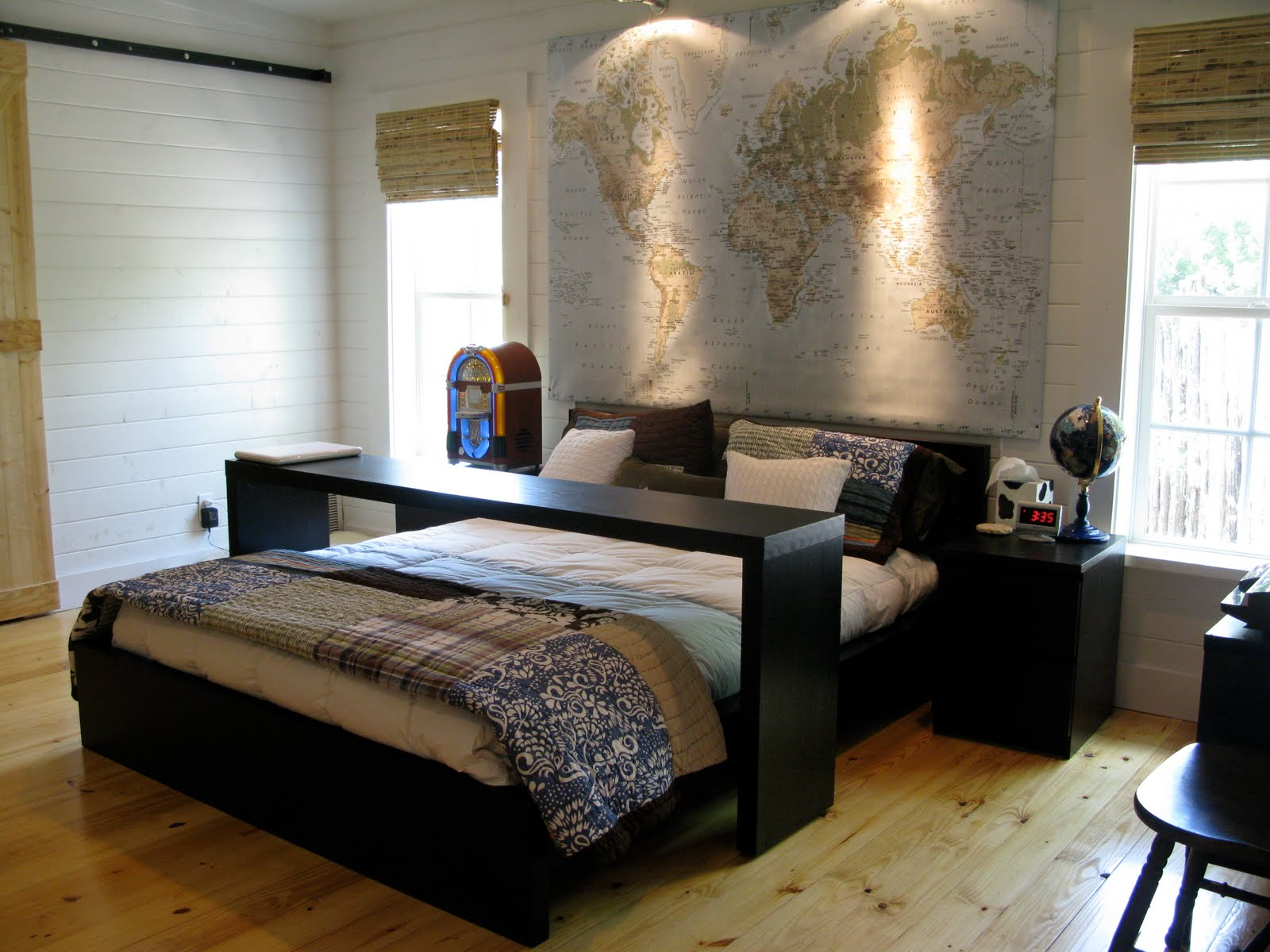 divine-modern-black-bedding-furniture-set-from-ikea-for-your-small-bedroom-design-ideas-with-map-and-globe-ornament