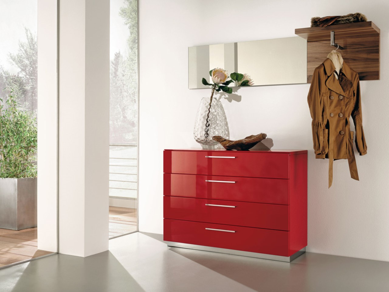 elegant-red-small-console-table-for-hallway-design-with-drawesr-and-indoor-plant-and-open-plan-room