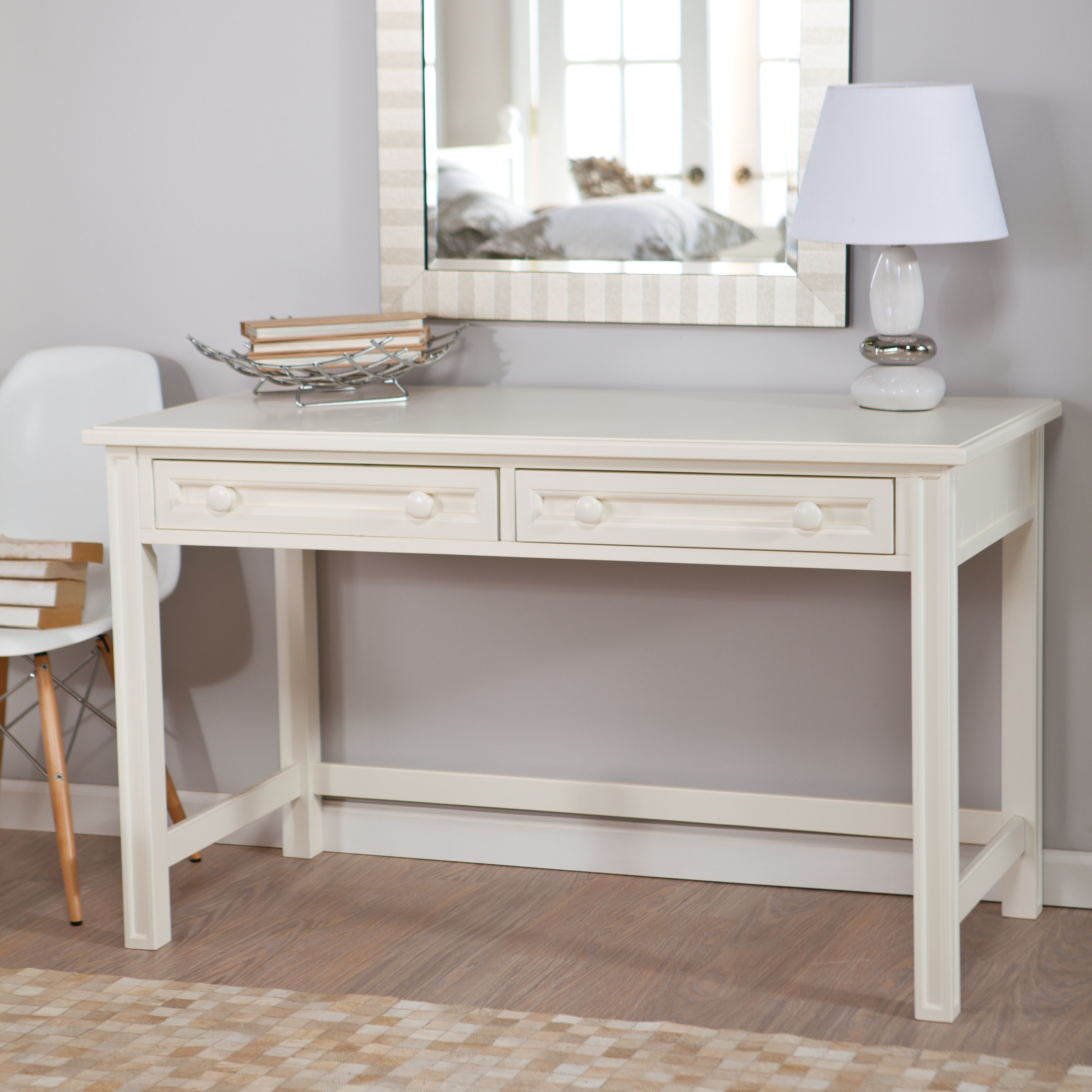 enchanting-design-of-white-polished-wood-vanity-table-ikea-furniture-for-bedroom-with-two-drawers-and-u-shape-stretcher-layout-also-empire-shade-table-lamp-in-front-of-wall-mirror-frames