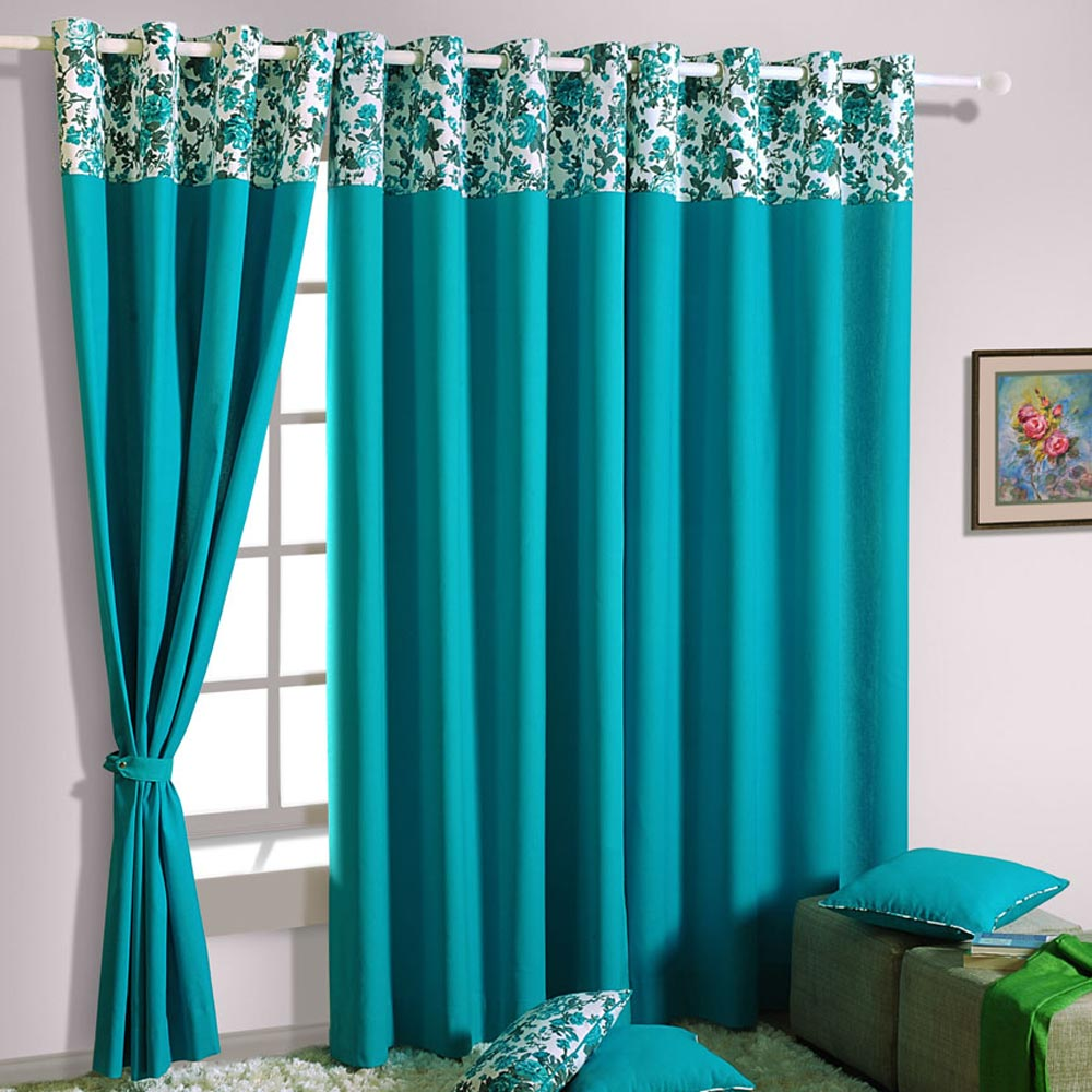 endearing-design-ideas-of-window-curtain-with-turquoise-color-curtains-and-combine-with-floral-pattern-valances-also-white-curtain-rod-as-well-as-curtains-and-drapes-plus-window-coverings