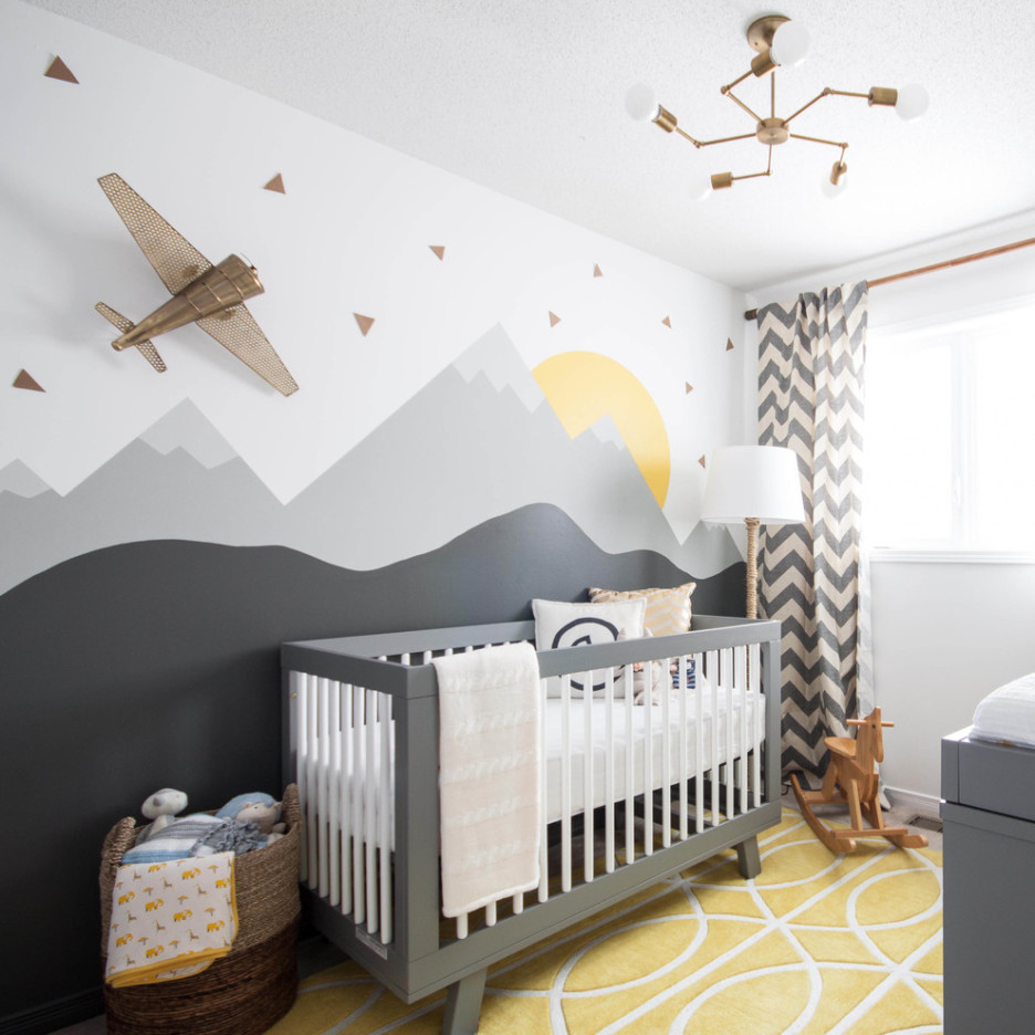 engaging-area-rugs-airplane-baby-nursery-room-boys-decoration-using-hand-painted-mountain-sun-brown-colored