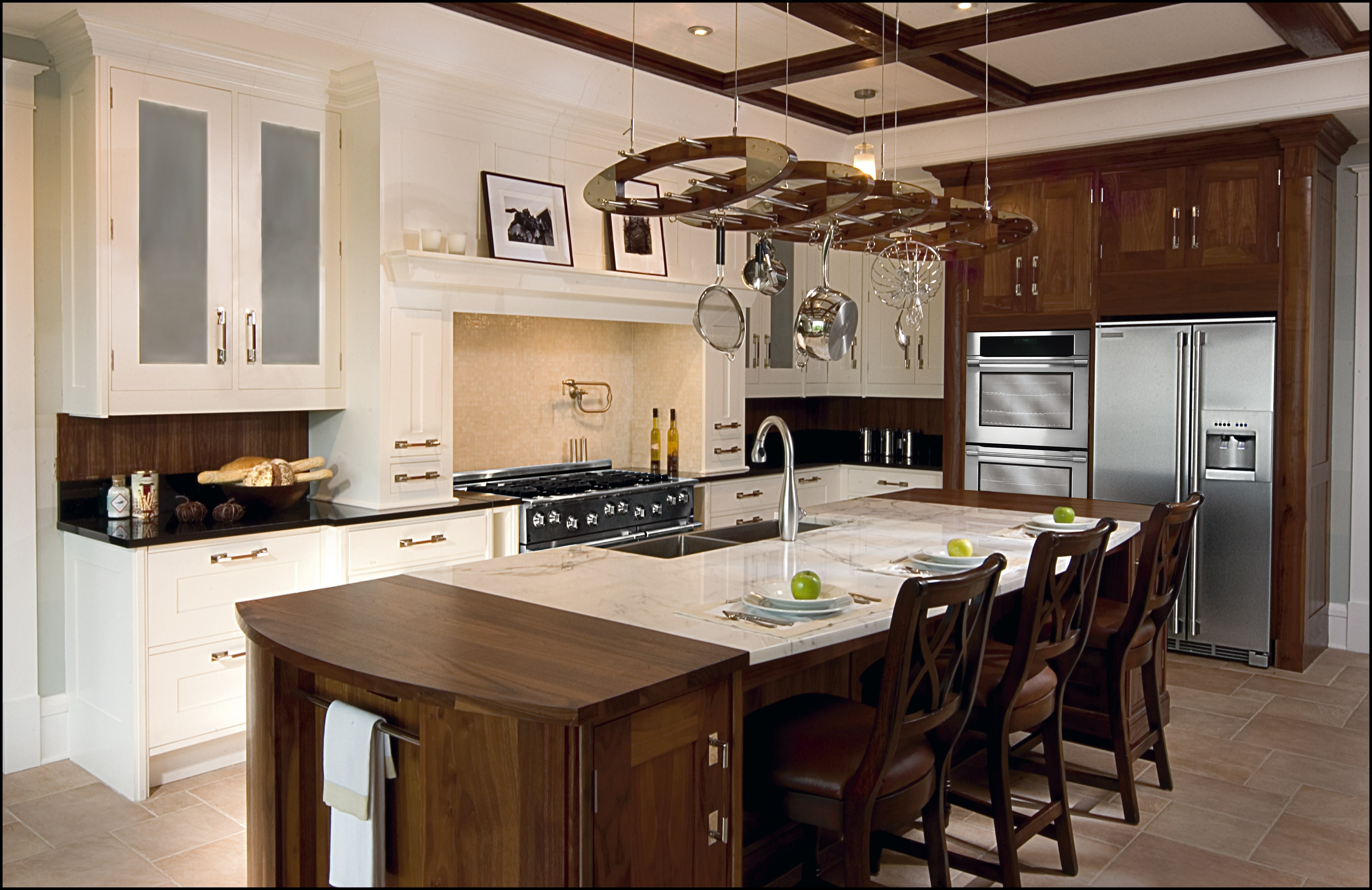 enticing-kitchen-luxury-country-design-ideas-with-dark-brown-wooden-dining-table-using-cream-marble-pedestal-countertop-be-equipped-chrome-stainless-sink-thereon-and-white-wooden-floating-shelves-cabi
