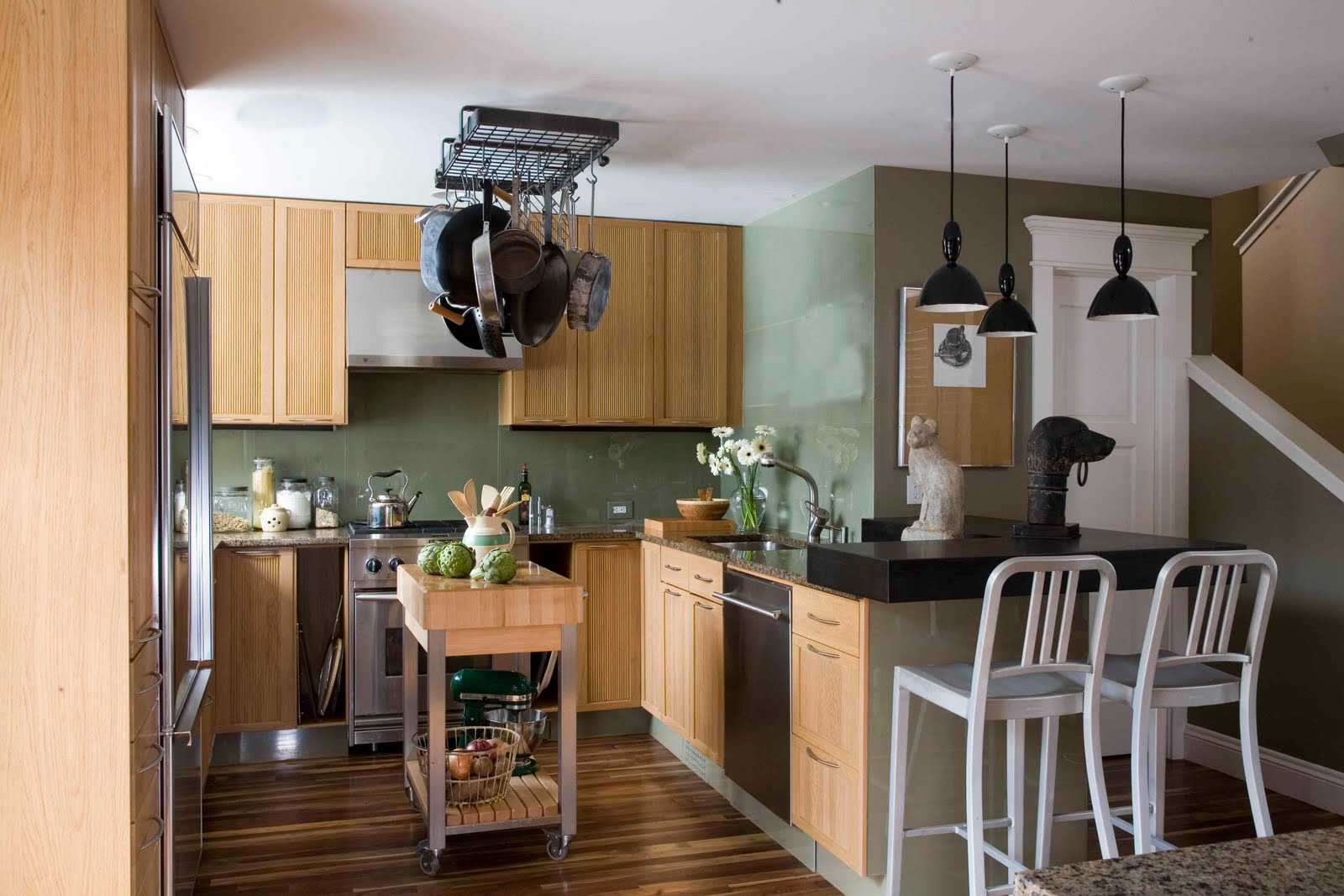 exotic-black-modular-pendant-lamps-mixed-with-white-wooden-eco-friendly-kitchen-interiors-on-laminate-floor-design