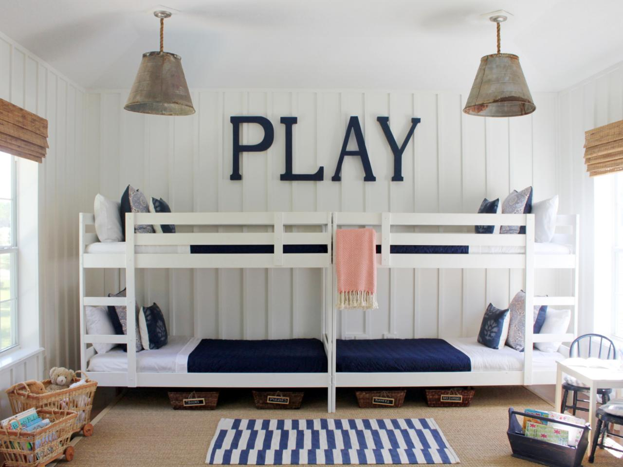 fetching-bed-cheap-kids-room-interior-design-decorating-ideas-with-white-wood-double-bunk-bed-along-white-bedding-and-dark-blue-blanket-also-twin-gray-pendant-lamp-and-white-wall-with-living-room-furn