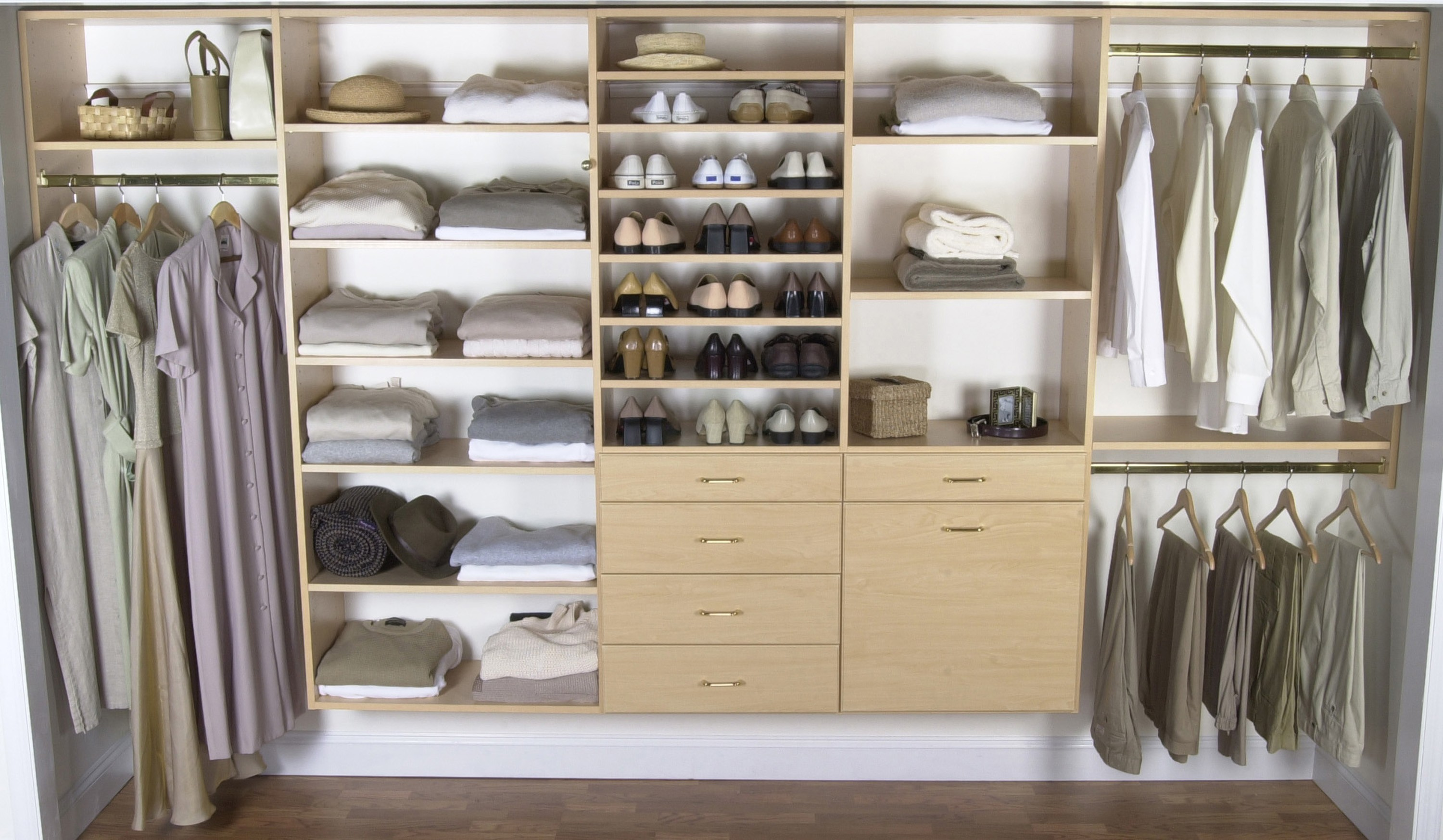 furniture-bedroom-cream-solid-wood-floating-wardrobe-for-small-bedroom-with-shelves-and-drawers-on-white-painted-wall-bedroom-closets-and-wardrobes