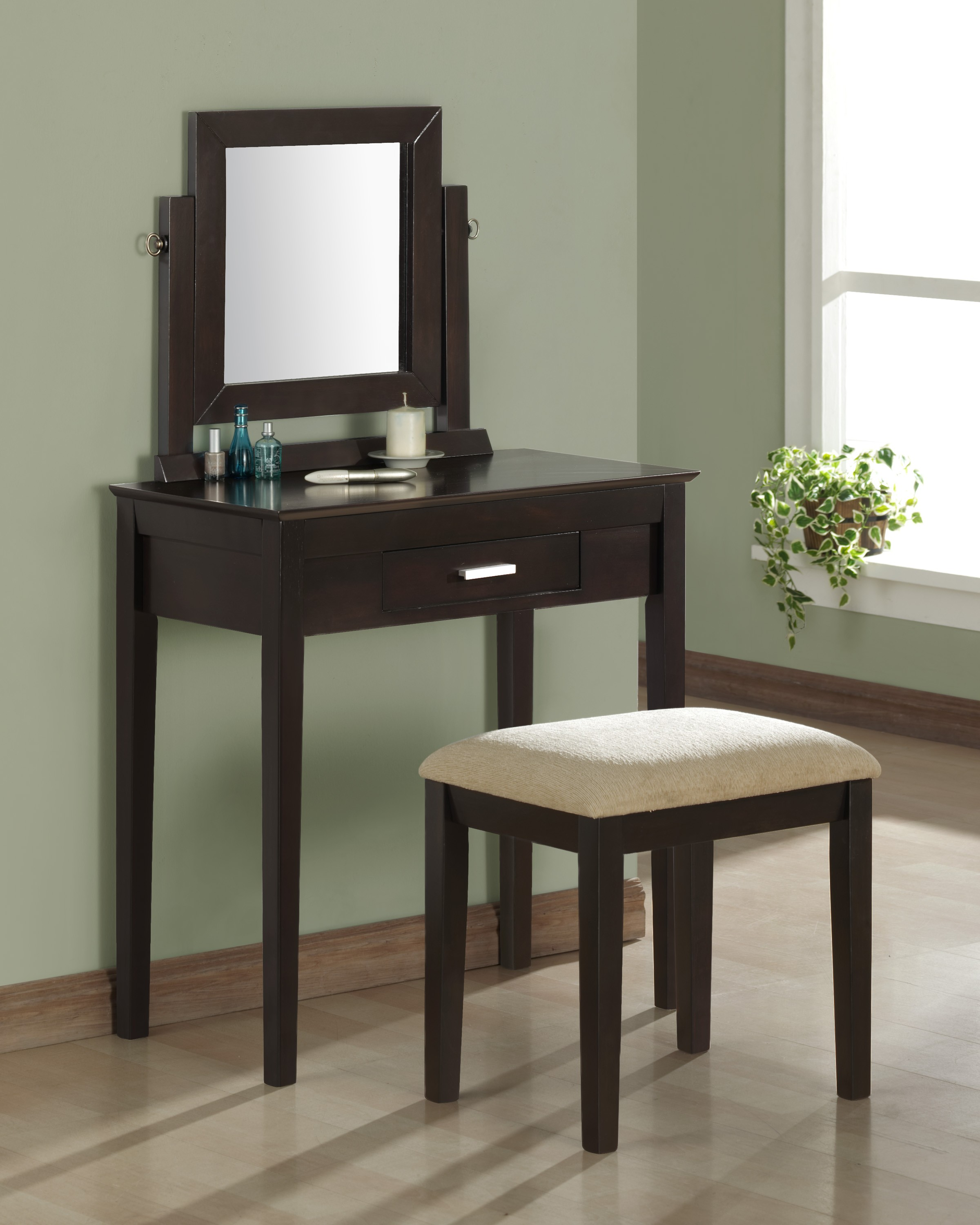 furniture-bedroom-matte-black-stained-oak-wood-with-square-swing-mirror-and-drawer-also-tapered-legs-bedroom-makeup-vanity-ideas
