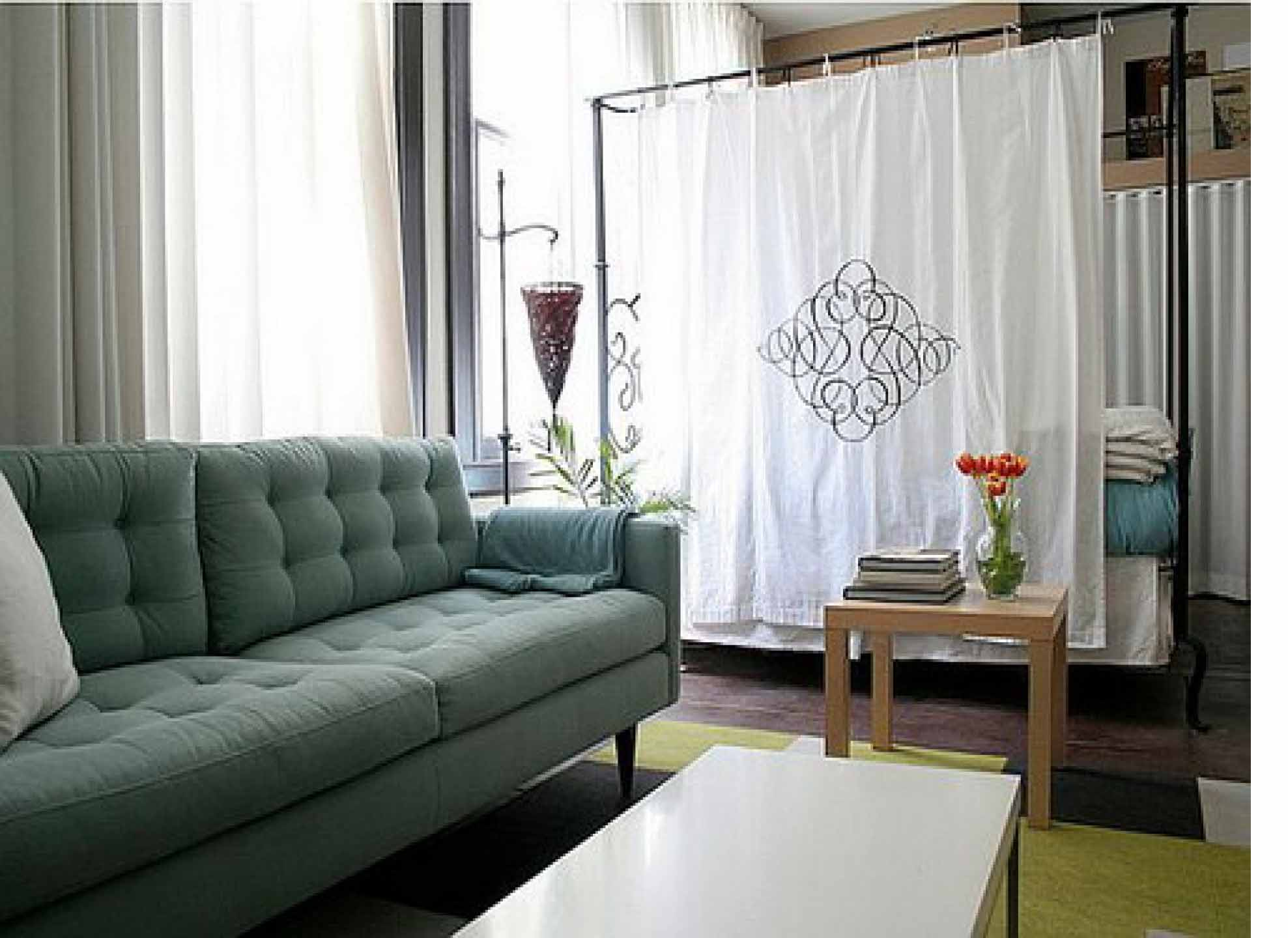 furniture-cozy-small-studio-apartment-interior-design-with-lovely-curtain-as-an-enclosed-room-divider-for-divide-bedroom-space-and-living-space-ideas-as-an-interesting-simple-and-cheap-wall