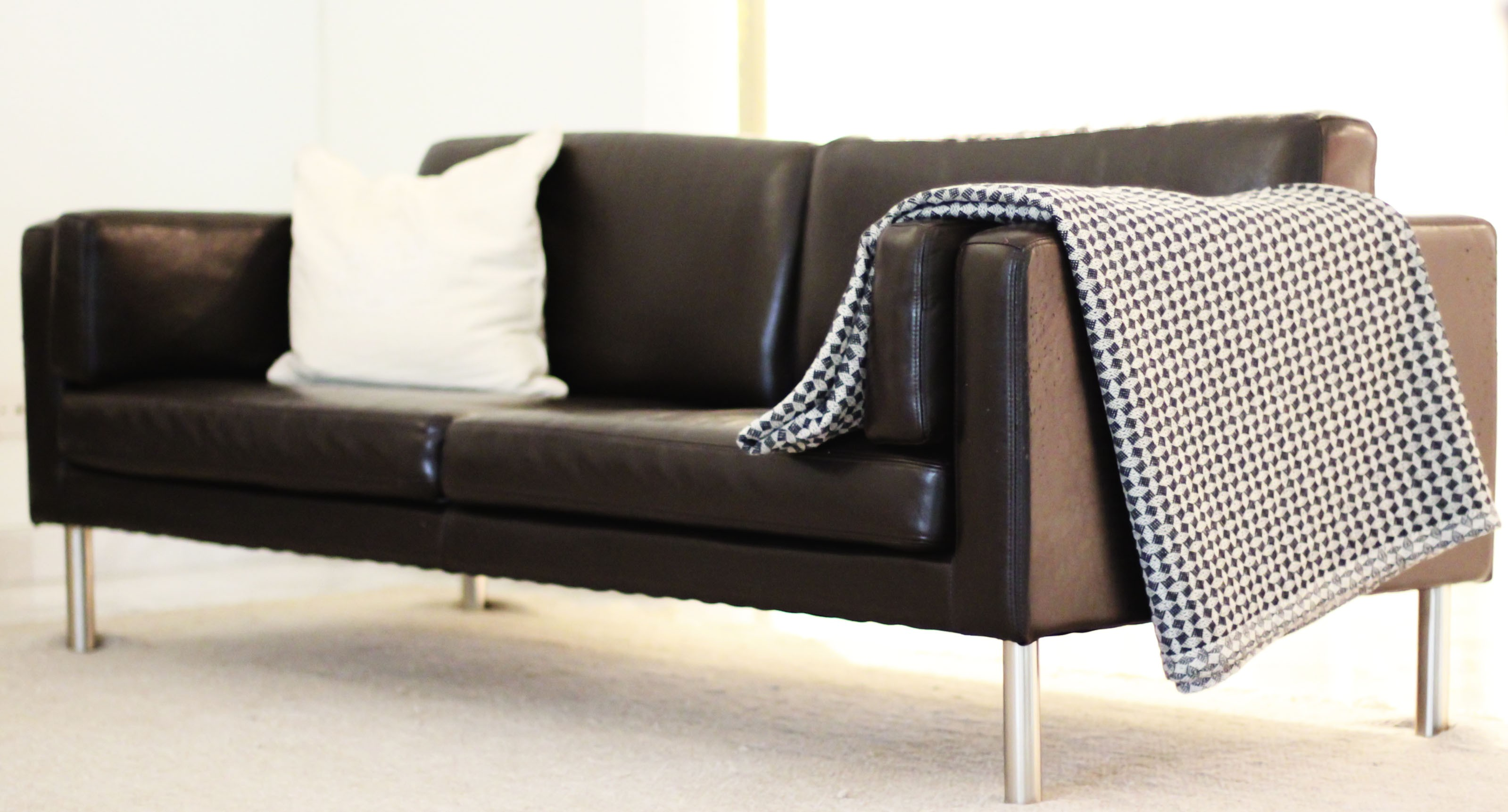 furniture-living-room-interior-metal-chrome-legs-leather-love-seat-with-white-linen-cushions-enamour-ikea-leather-sofa-ideas-to-embellish-your-living-room